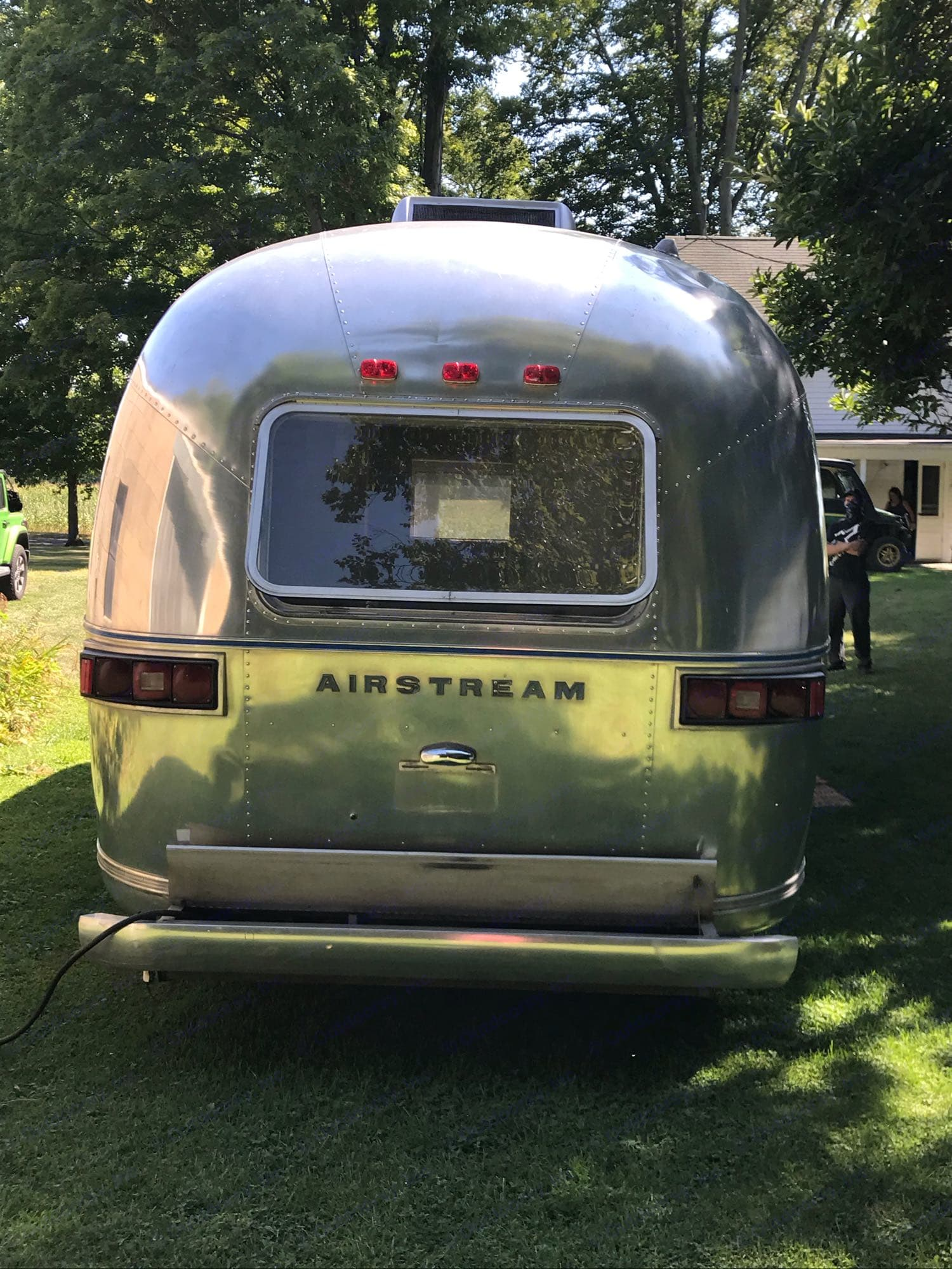 Rear view of Airstream. Airstream Land Yacht 1975