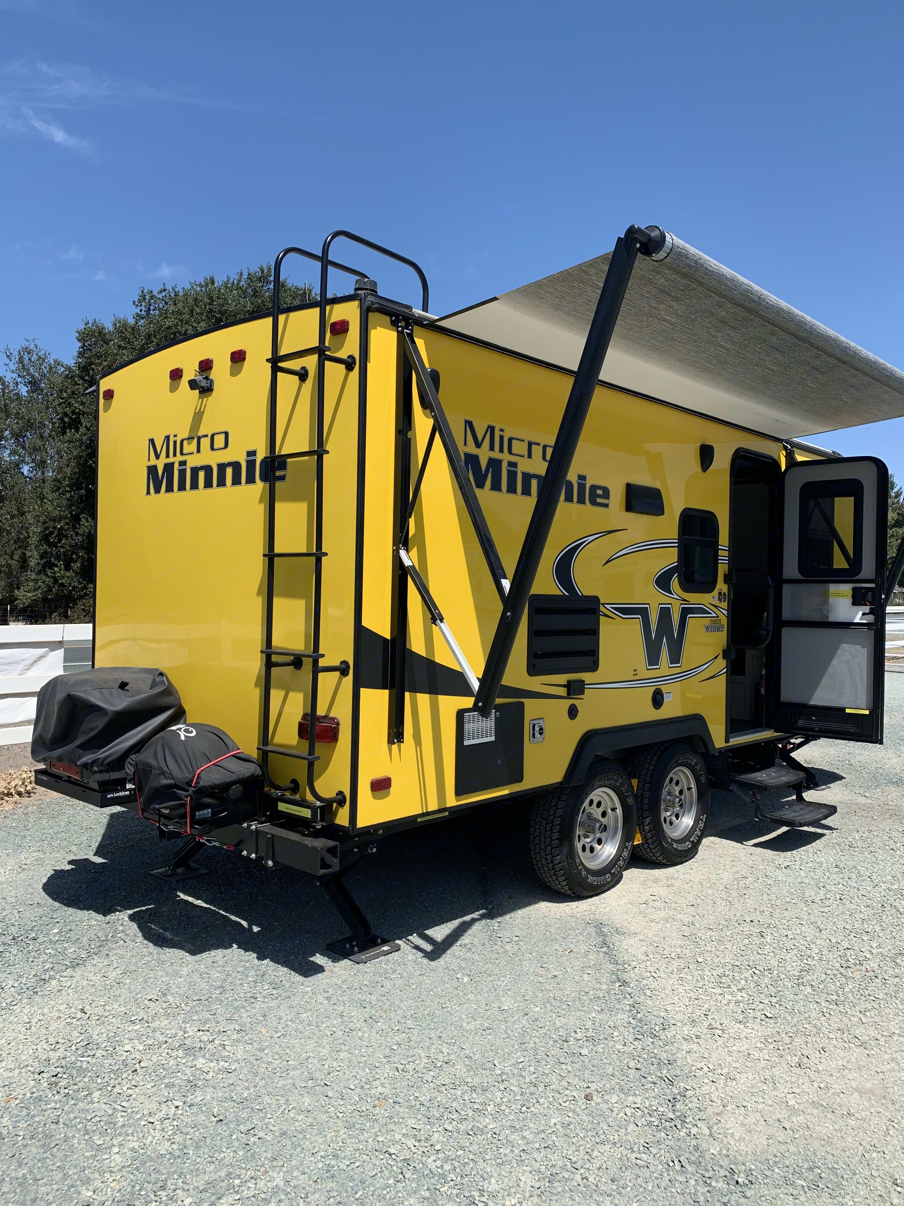 Awning is half way out. Winnebago Micro Minnie 2019