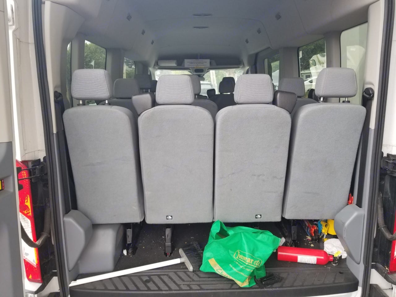 View inside from behind. Ford Transit 2017