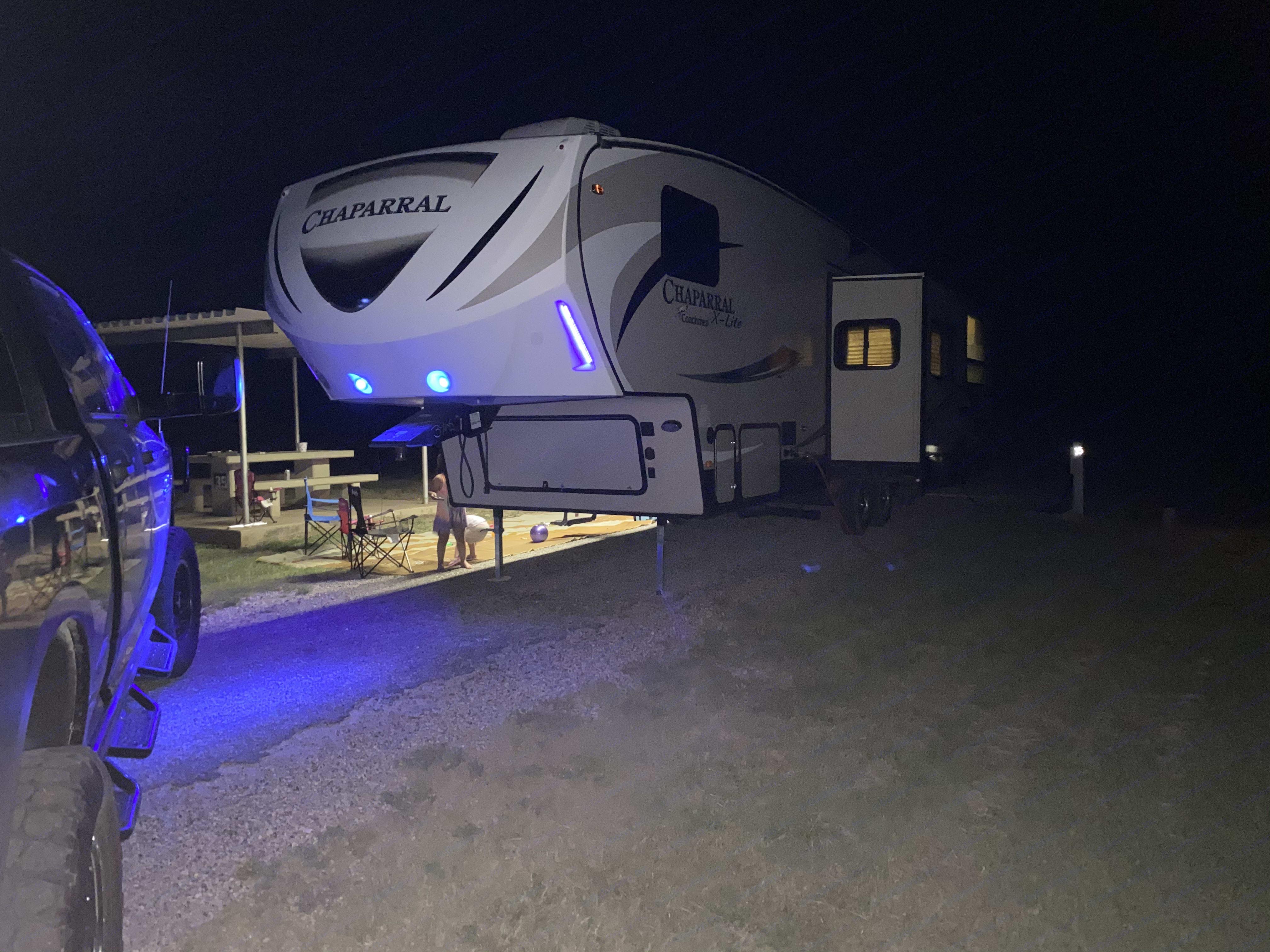 Blue LEDs in the nose. Coachmen Chaparral 2016