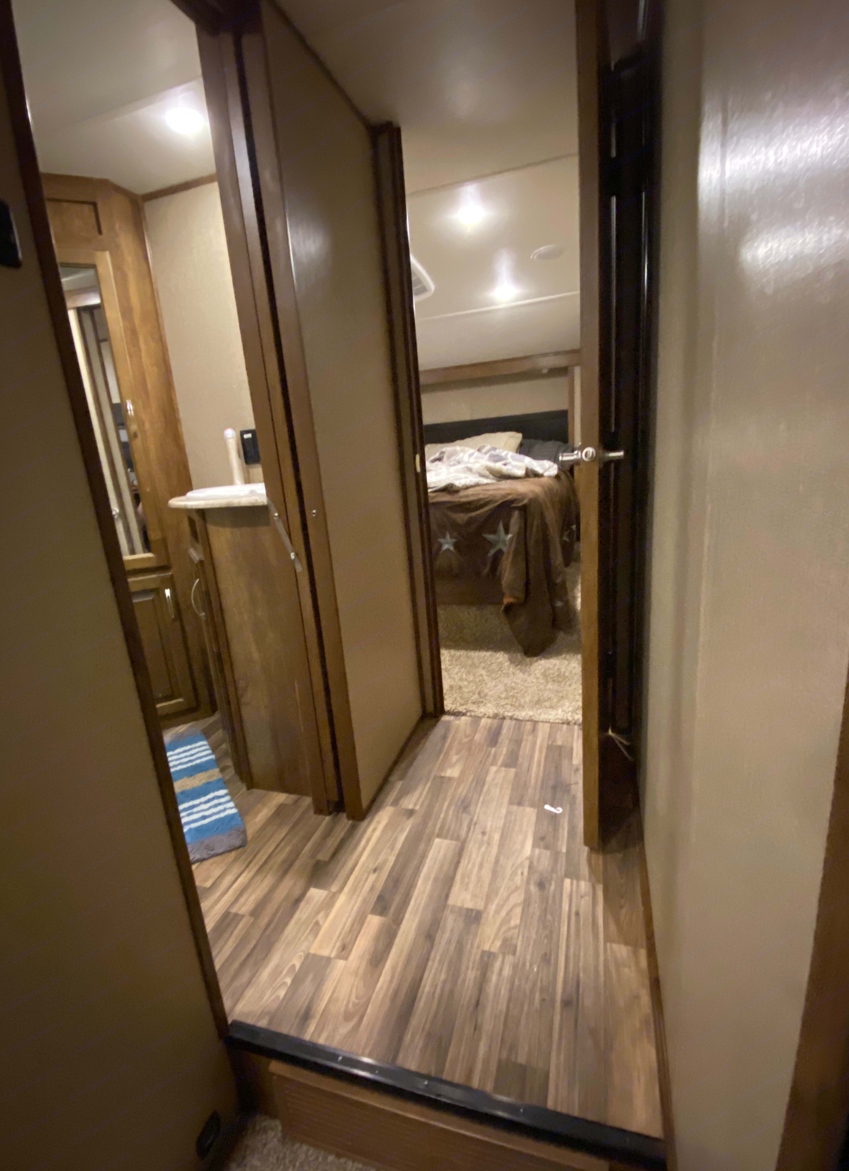 Stairs going up to bathroom and bedroom. Coachmen Chaparral 2016