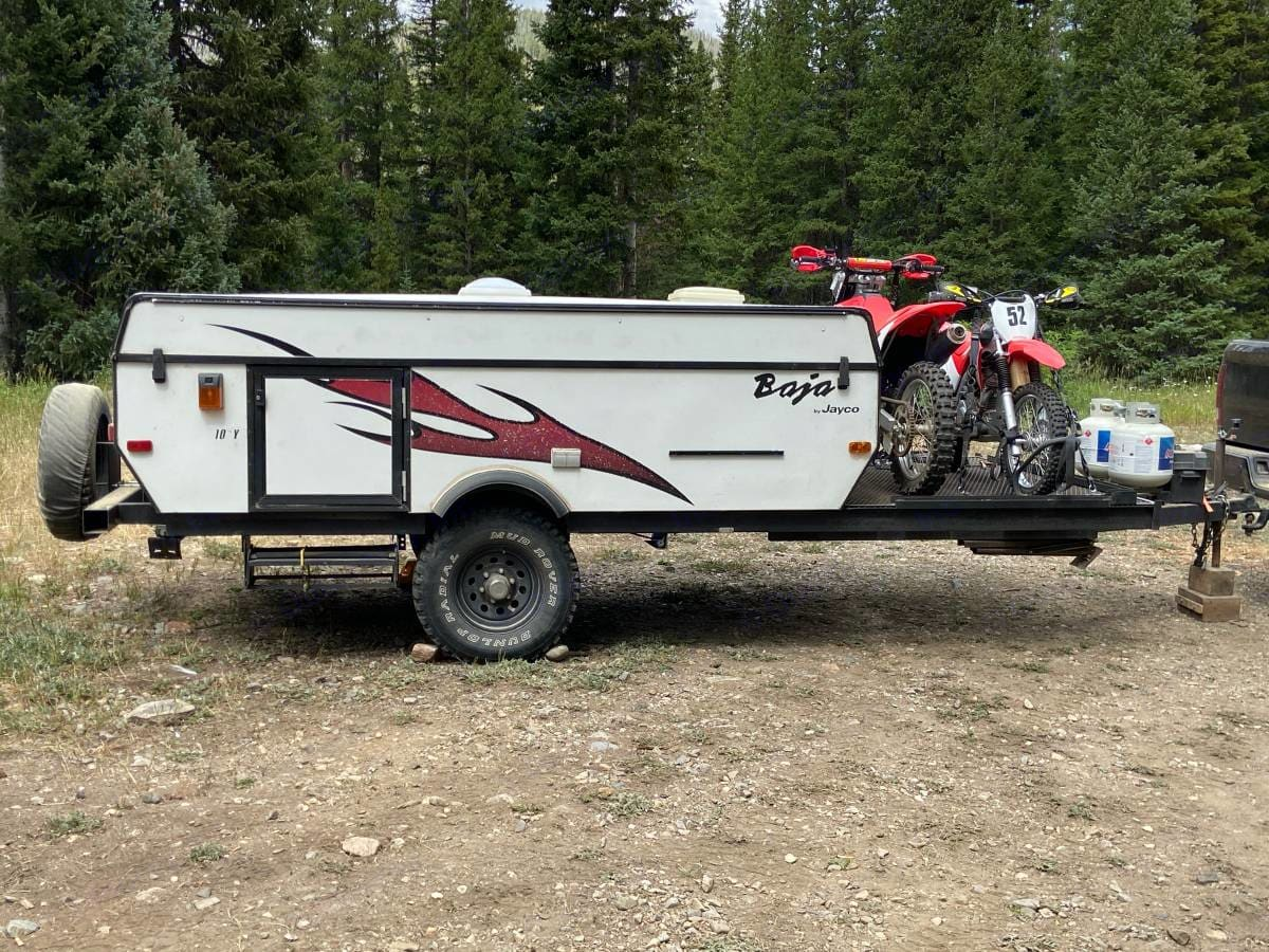 Easily fits 2 motorcycles up front or 1 4 wheeler. Jayco Baja 2007