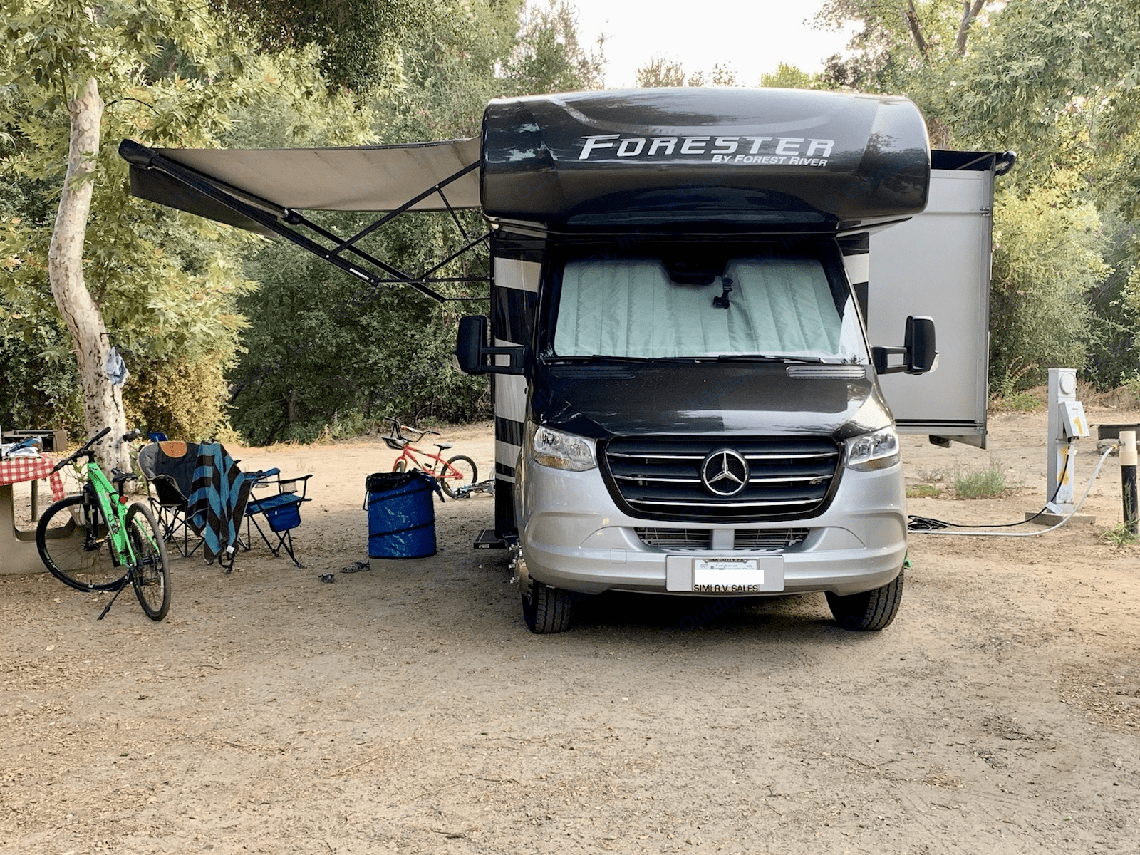 awning and slideout opened. Mercedes/Forest River Forester 2021