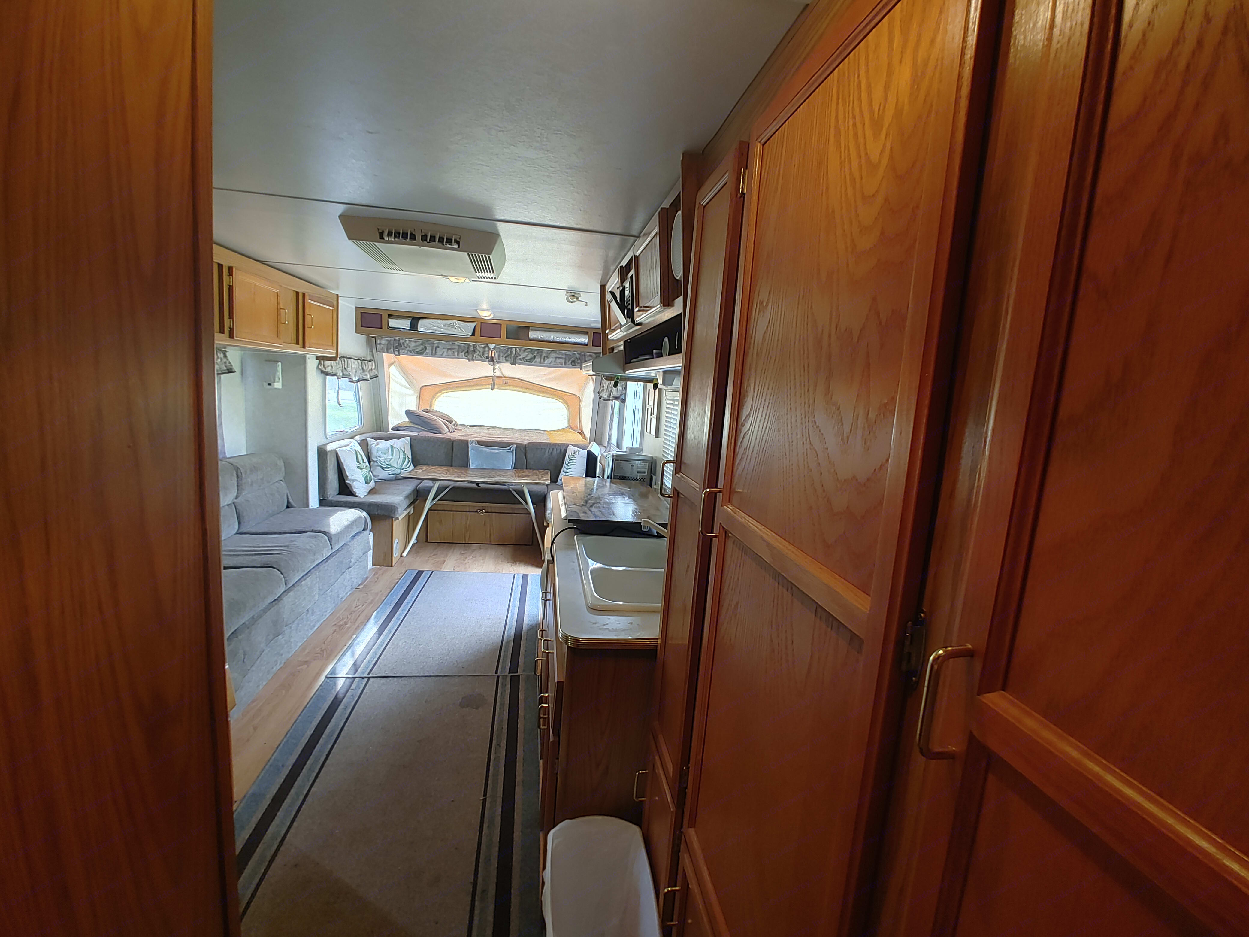 View of camper from back bed room. Jayco Kiwi 2003