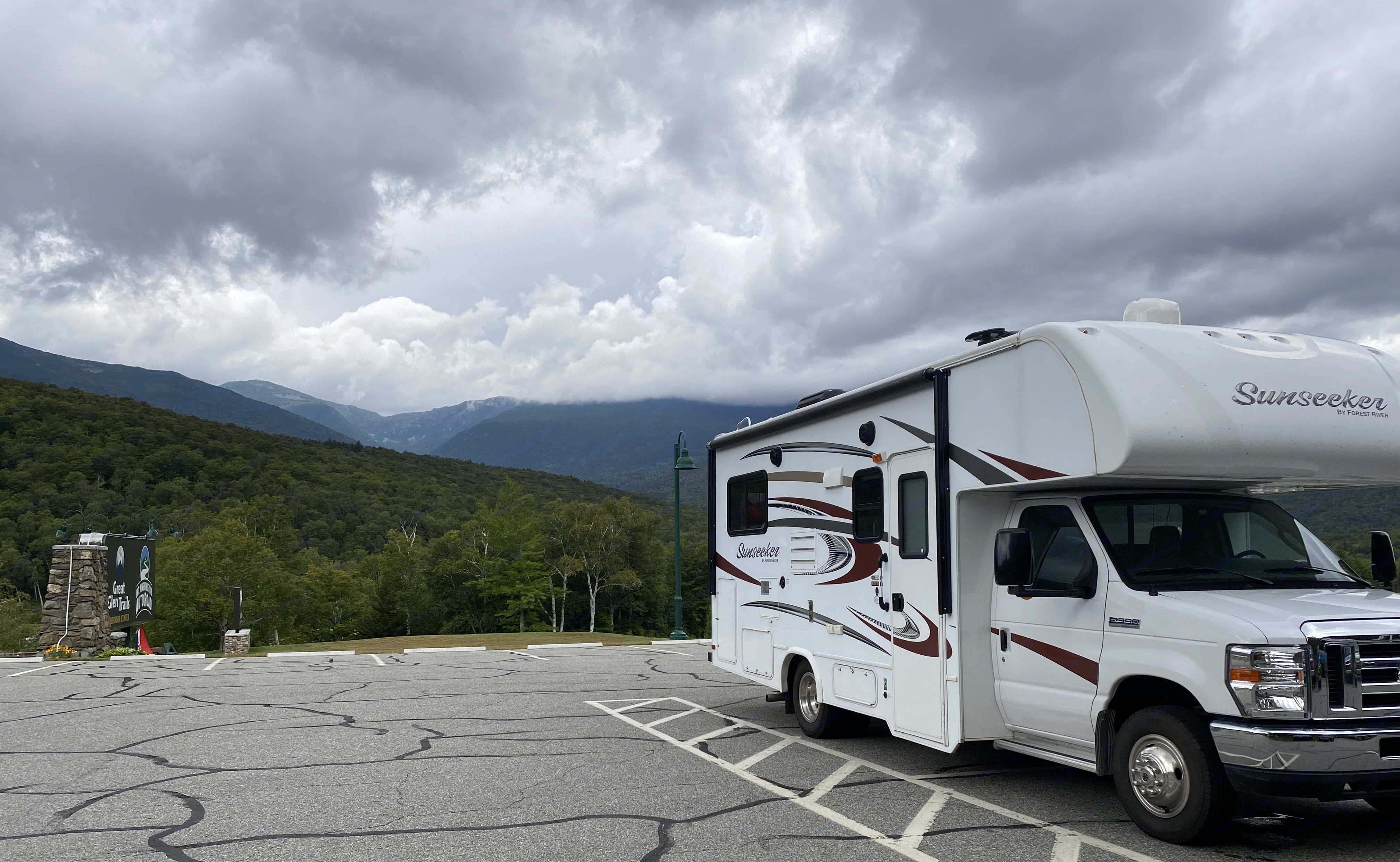 parking lot at Great Glen Trails and the Mt Washington Auto Road - an extraordinary place!. Forest River Sunseeker 2016