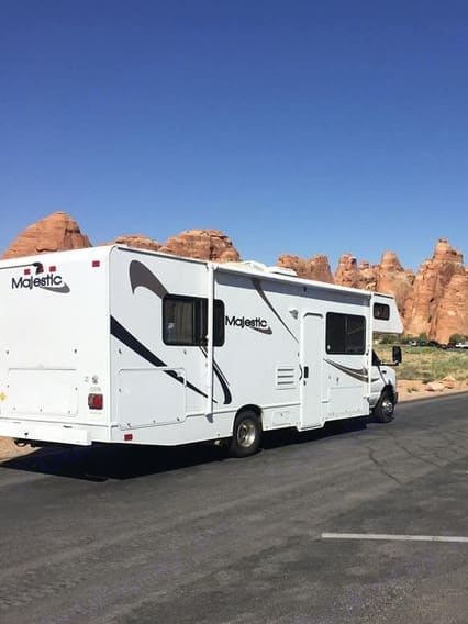 At Arches National Park. Thor Motor Coach Four Winds Majestic 2011