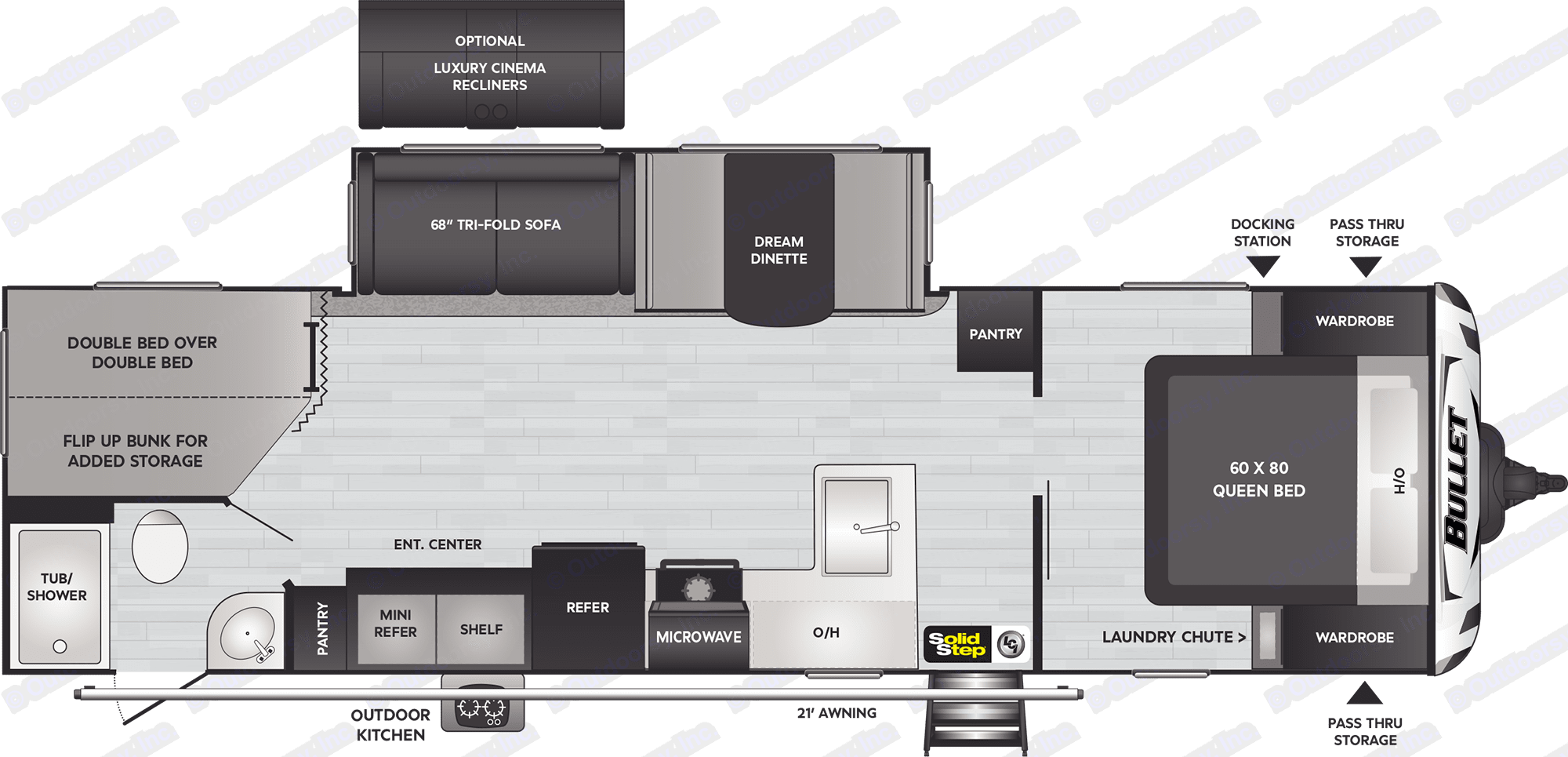 Floorplan for the BHS290 Keystone Bullet. Keystone Bullet 2020