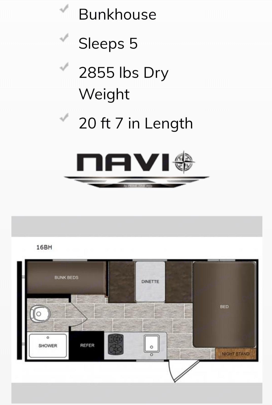 Floorplan. Forest River Navi 16Bh Prime 2019