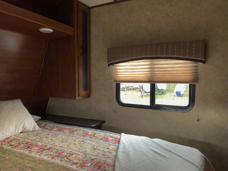 bedroom with window. Jayco Jay Feather 2017