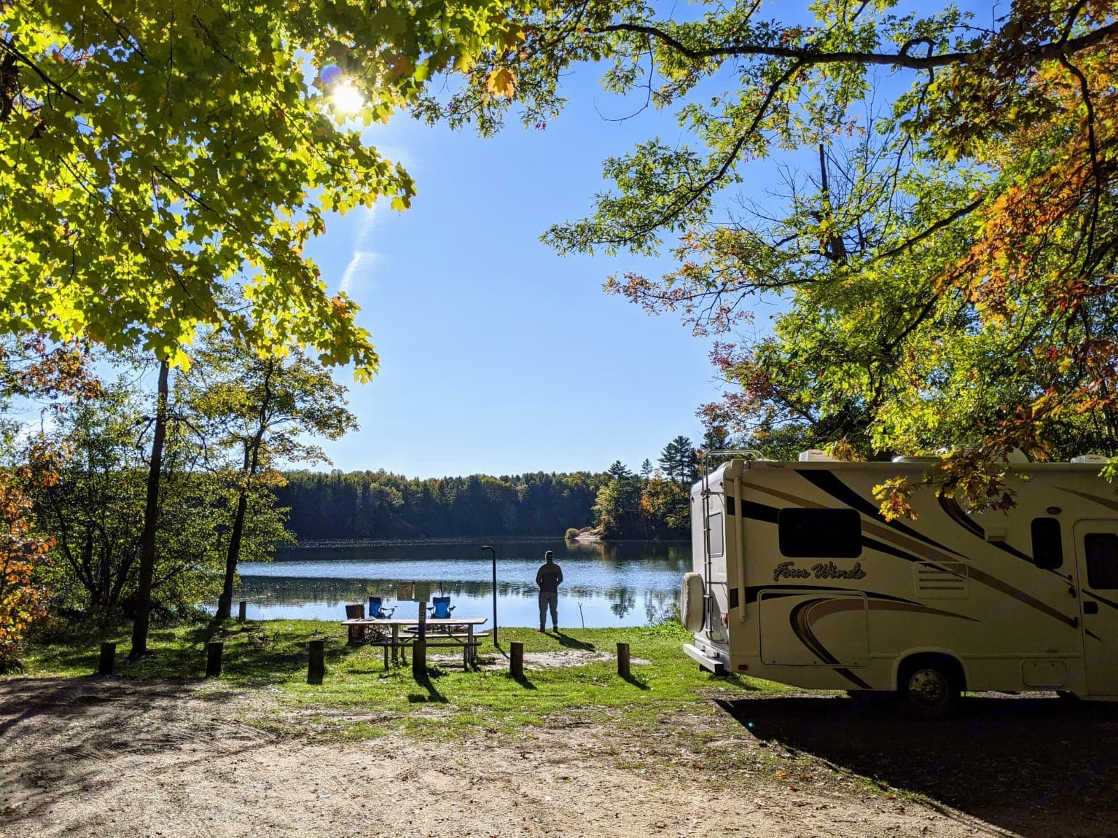 Captain Four Winds renter sent a postcard from Michigan. Thor Motor Coach Four Winds 2015