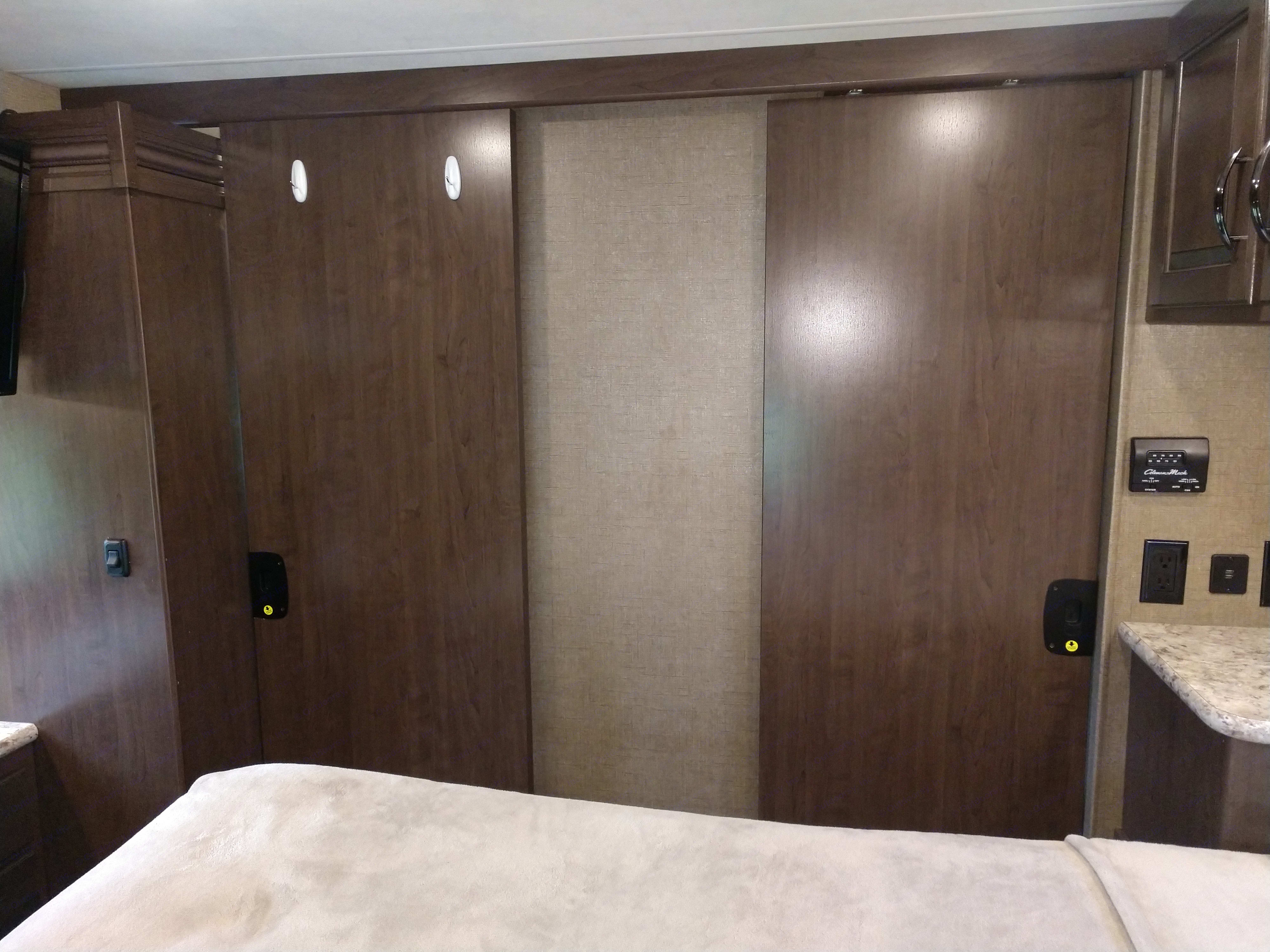 MB double pocket doors to bunk/living area & bathrm. Thor Motor Coach Chateau 2019