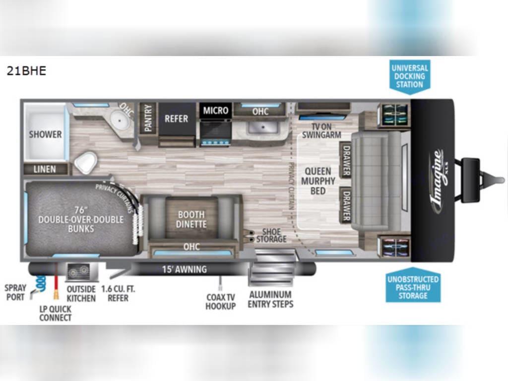 2020 21 BHE layout. Grand Design Imagine XLS 21BHE 2020