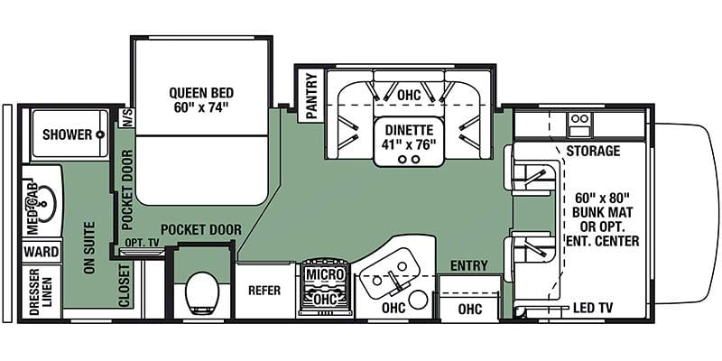 Floor plan, the bunk bed is split in to two for convenience in the actual vehicle. Forest River Forester 2019