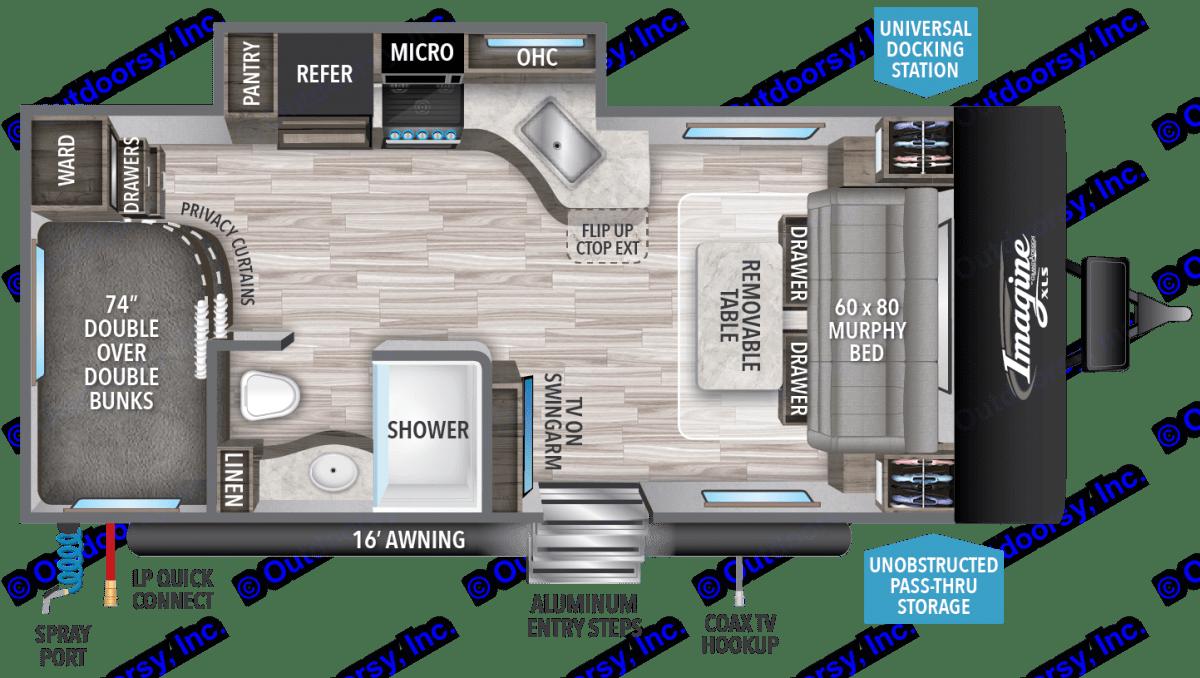 Floor Plan. Grand Design Imagine XLS 19BWE 2019