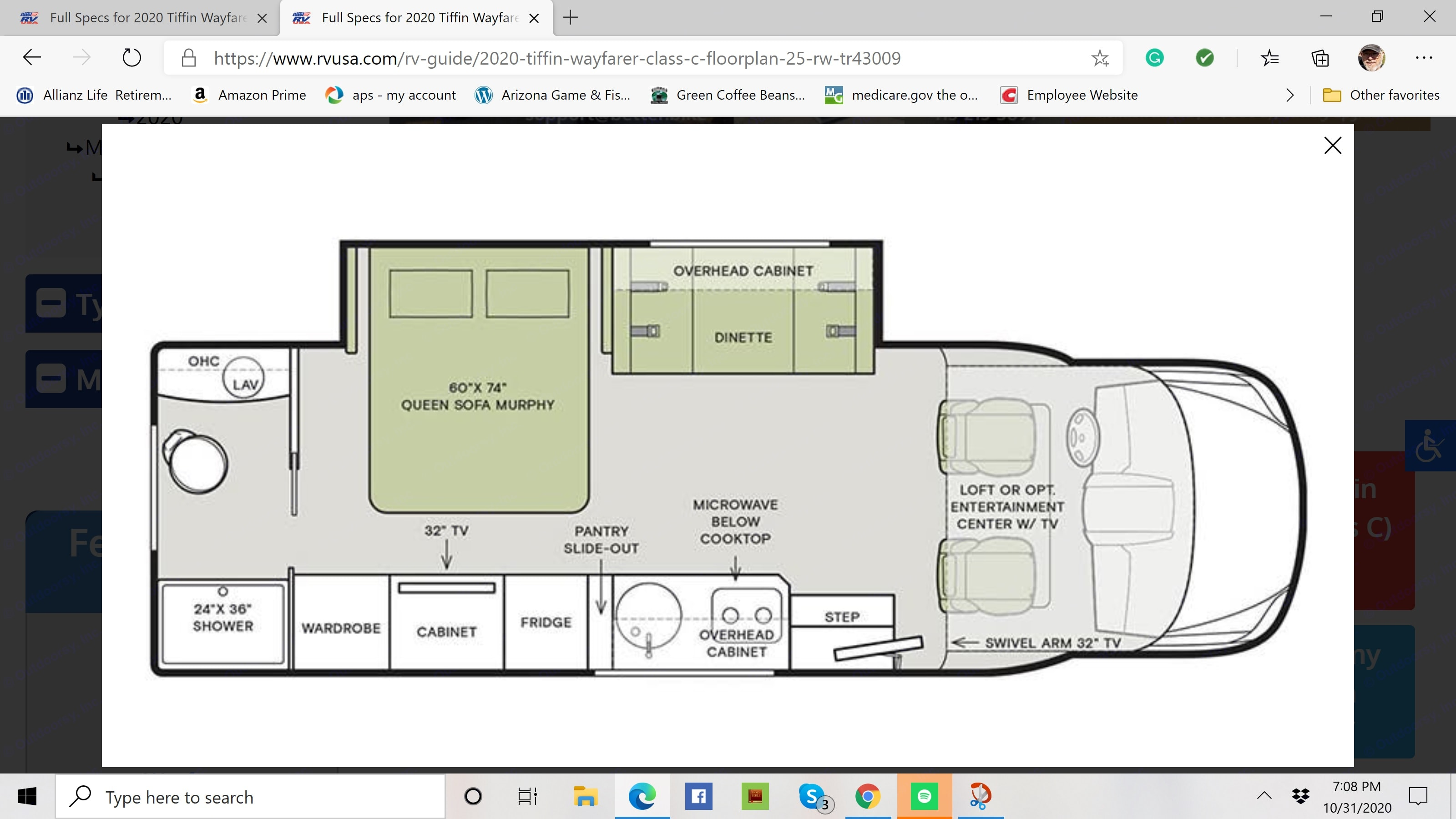 Floor Plan. Tiffin Motorhomes Wayfarer 25RW 2020