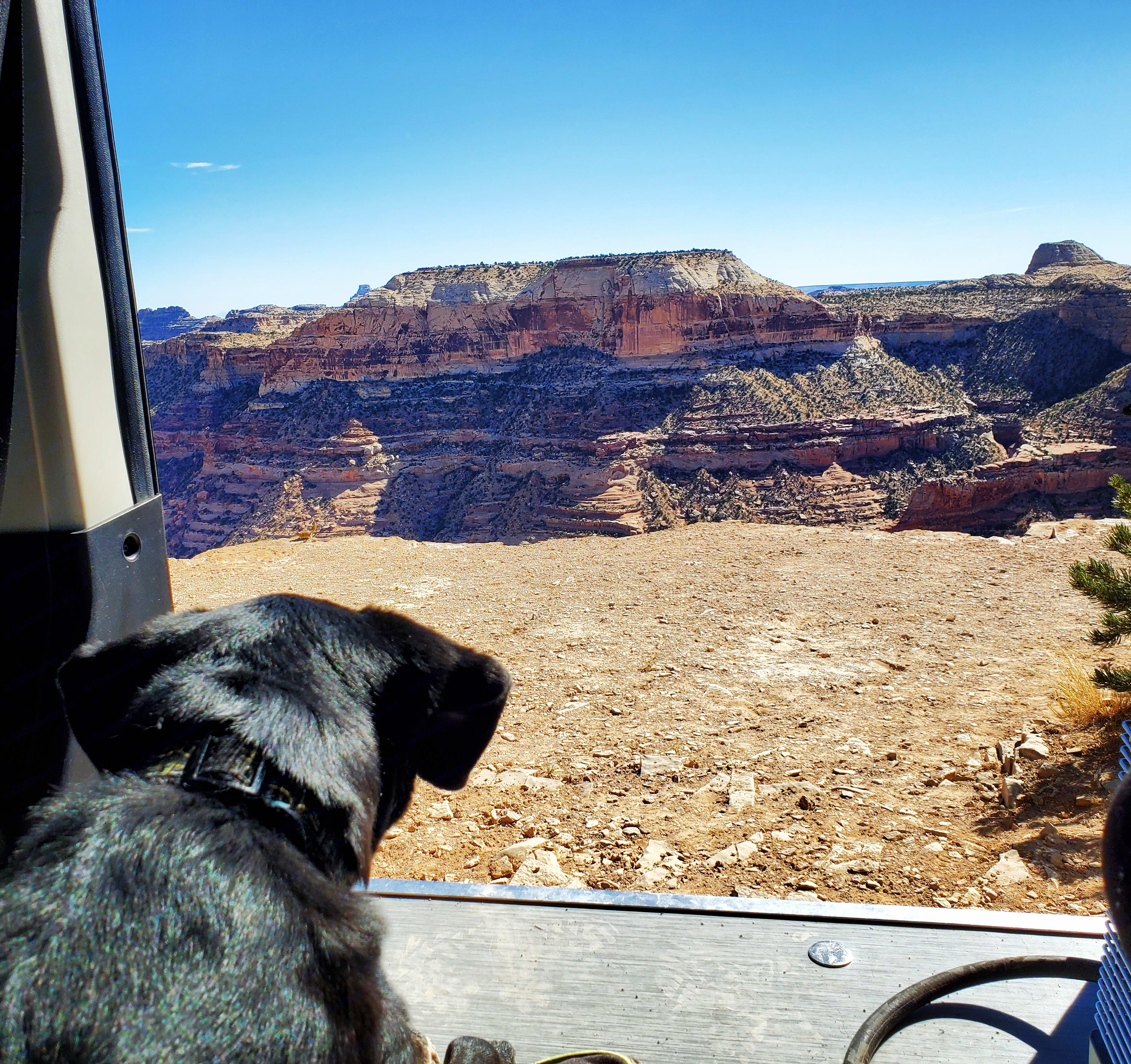 Checking out the Canyon Country views.  'Little Grand Canyon' San Rafael Swell, Utah. Dodge Promaster 1500 2020