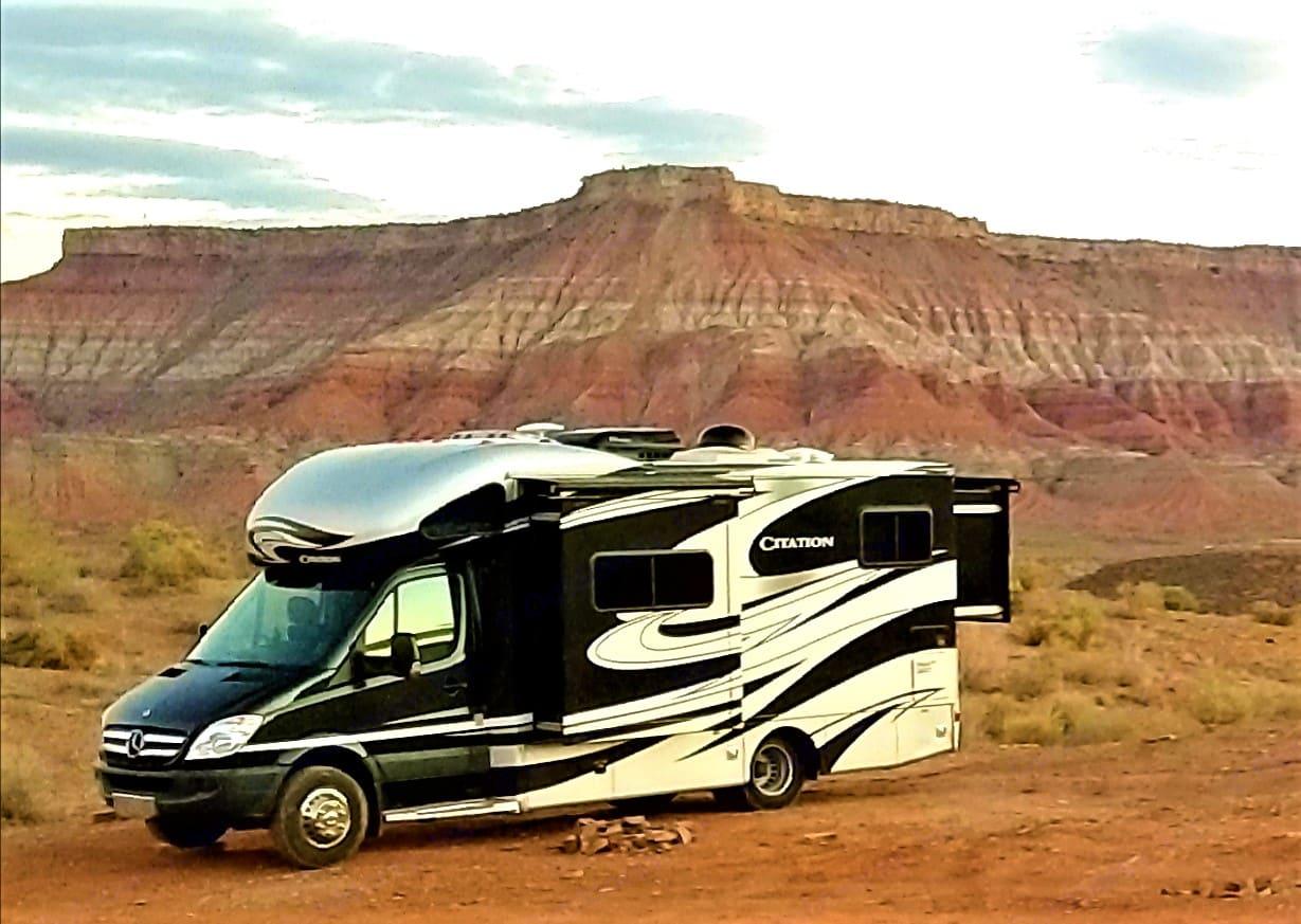 Boon docking near Zion National Park, Utah. Thor Motor Coach Citation 2013