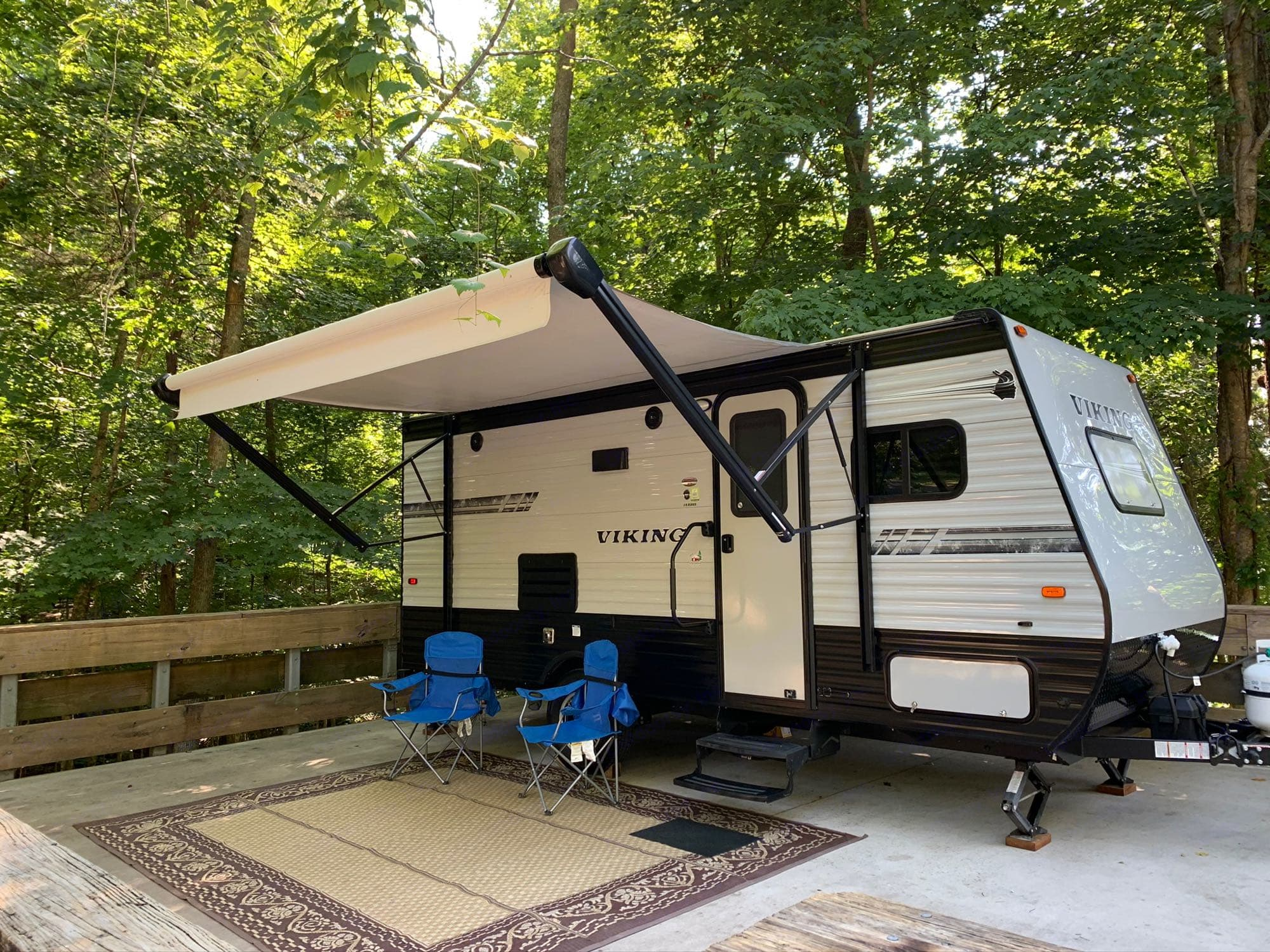 Nice power awning, chairs and outdoor rug included!. Coachmen Viking 2019