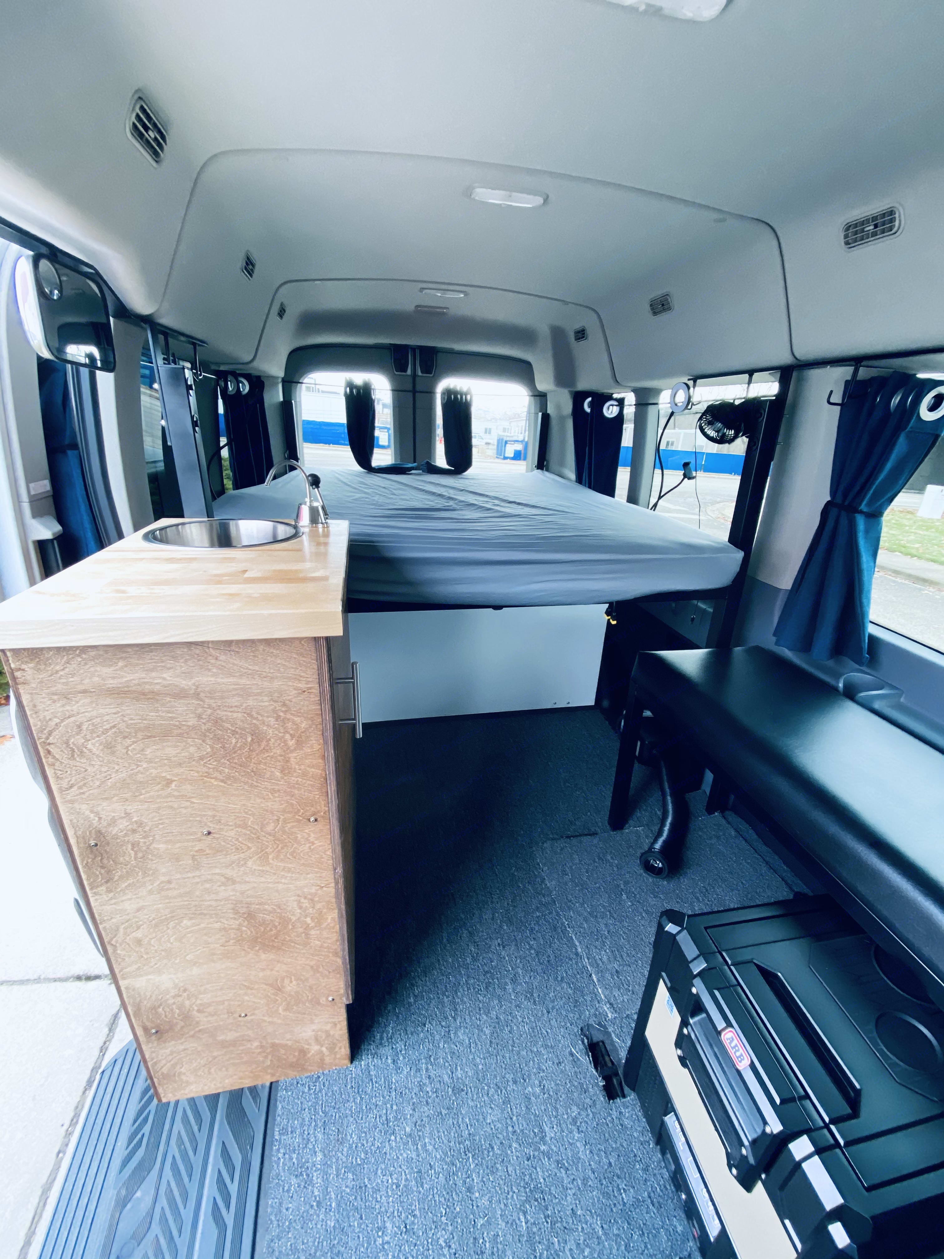 View from center of van looking backwards. Ford Transit 2019