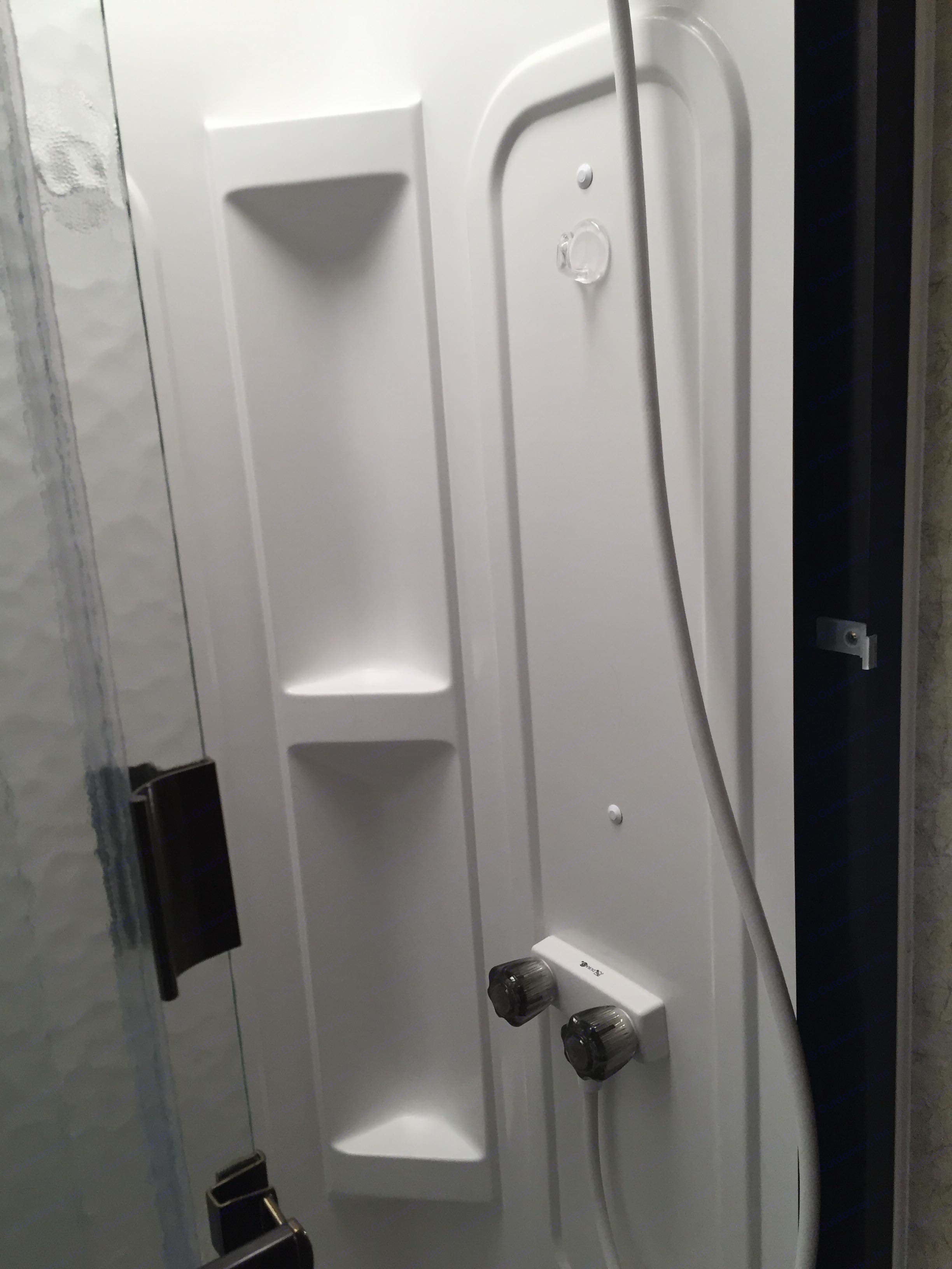 Shower is just enough..fully functional. Well organized for privacy and space.  . Jayco Greyhawk 2007
