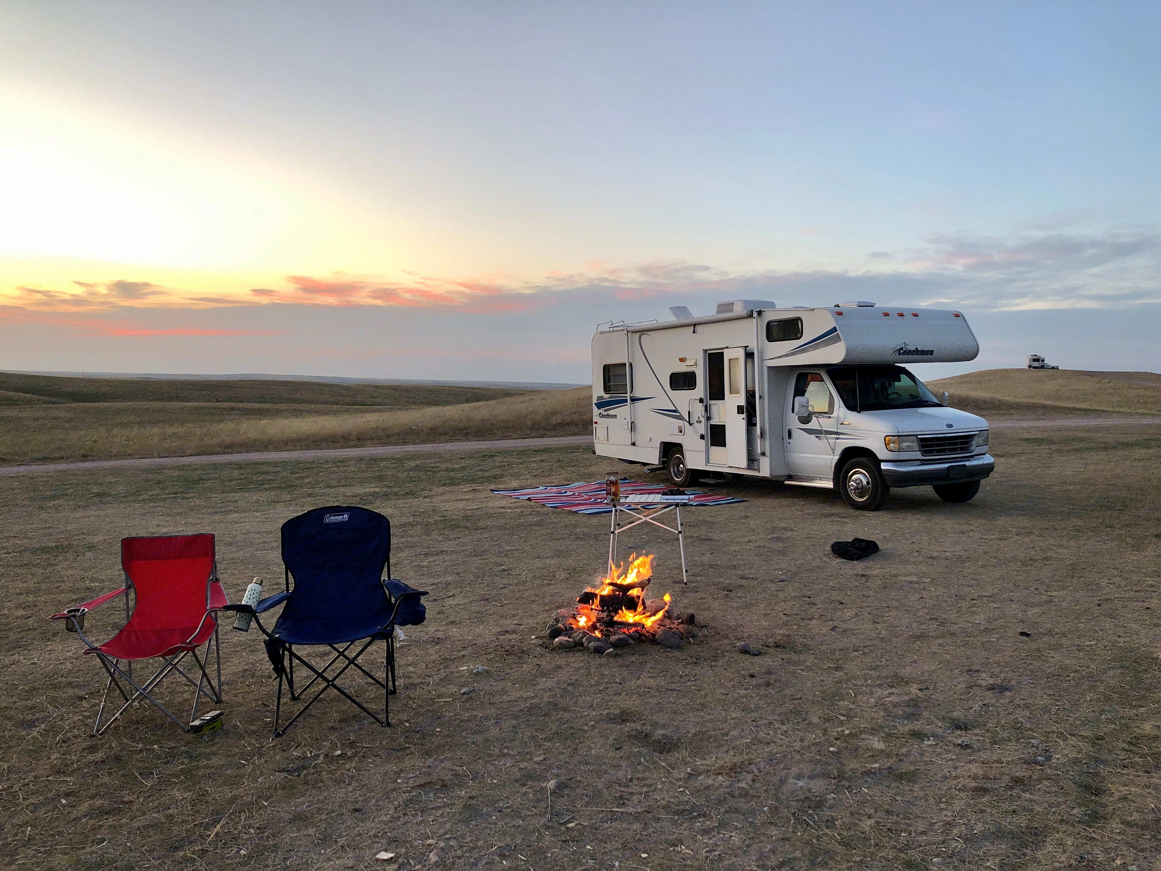 After a long day hiking in badlands national park . Coachmen Catalina 1996
