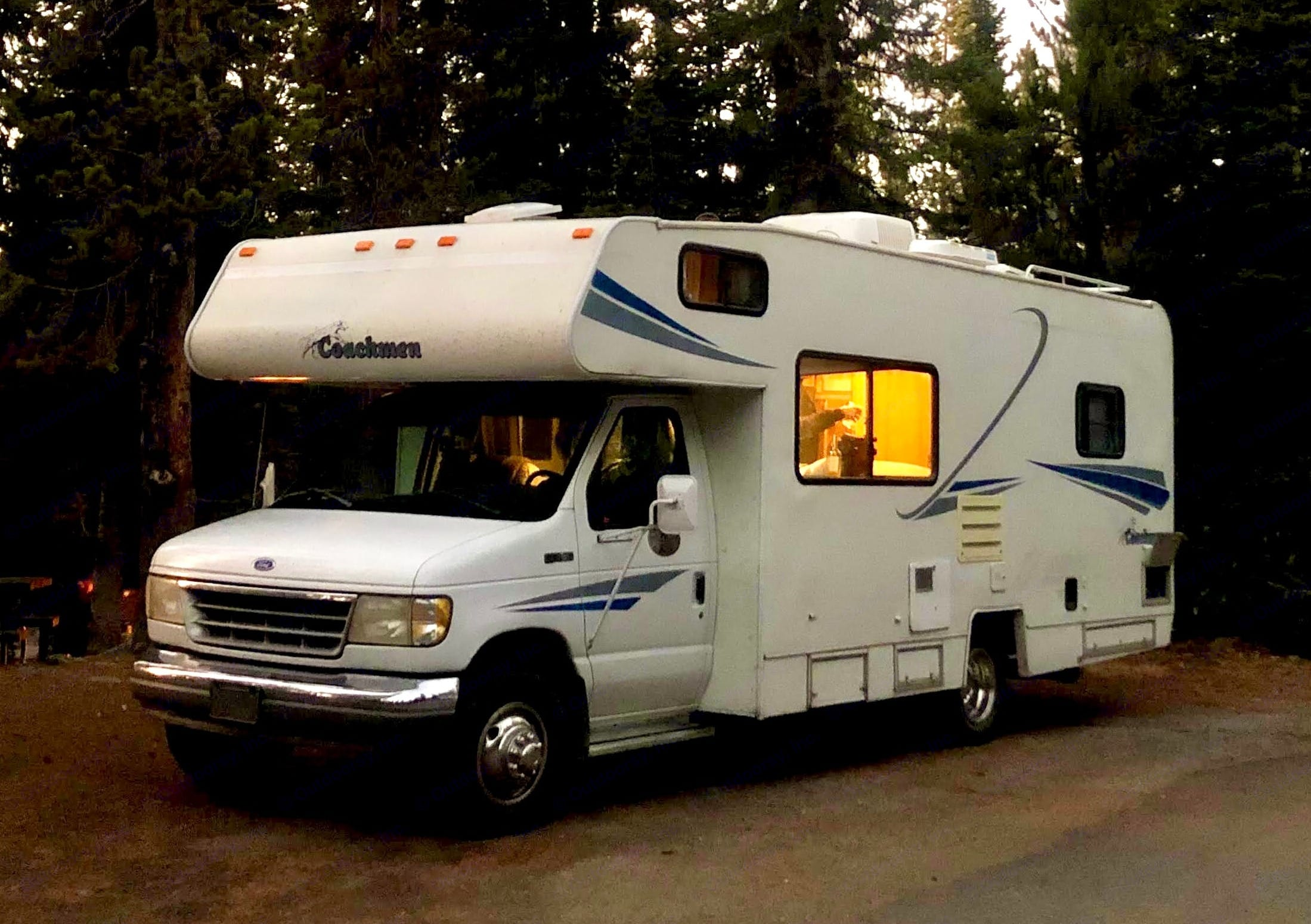Parked up for the night in Yellowstone . Coachmen Catalina 1996
