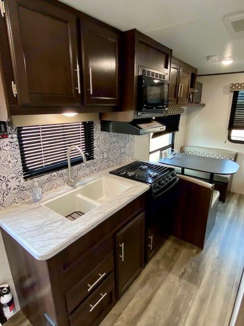 Spacious kitchen and living room. Jayco Baja 2019