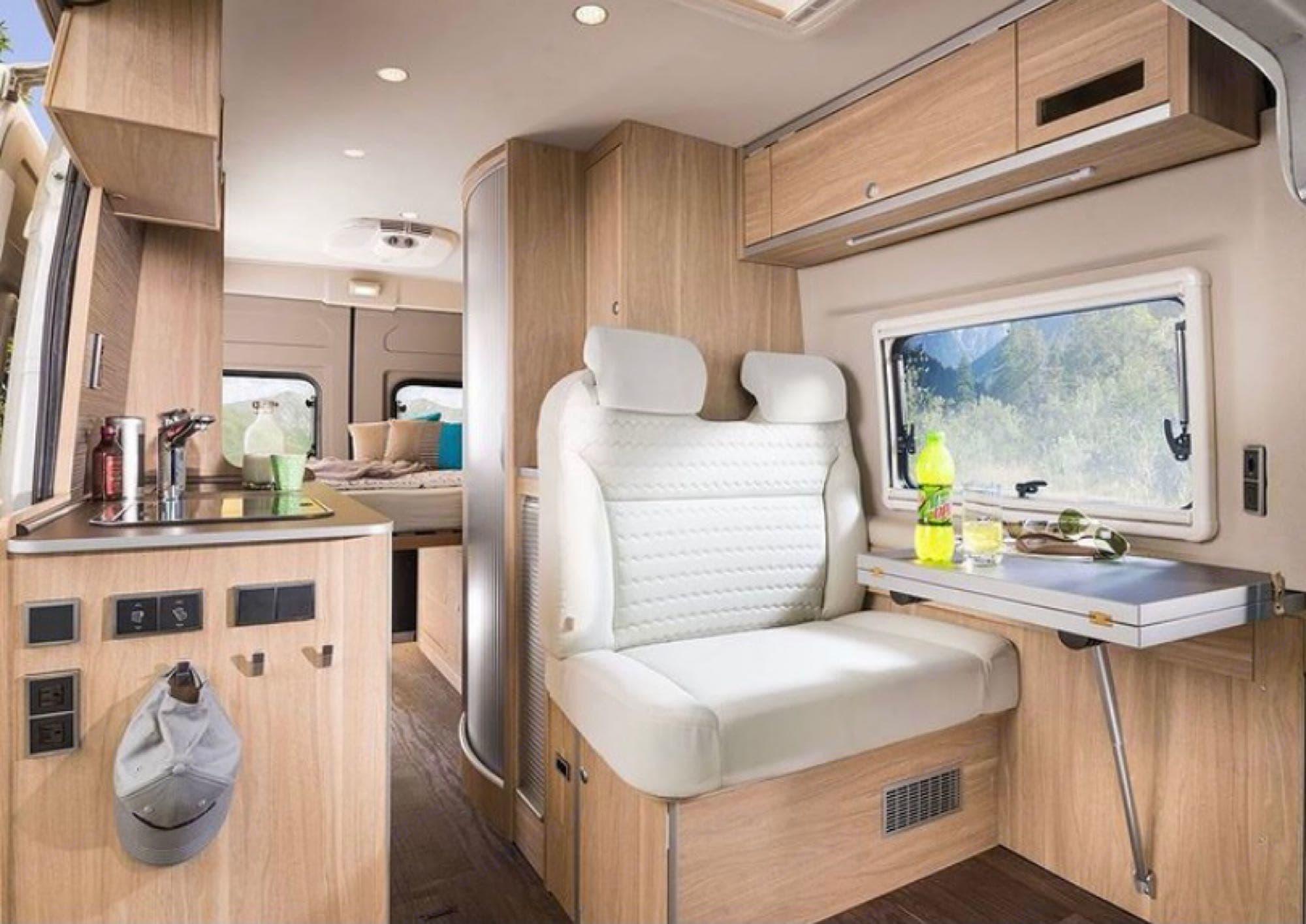 Fold Out Dining Table & Kitchen View. Hymer Aktiv Loft 2.0 2019