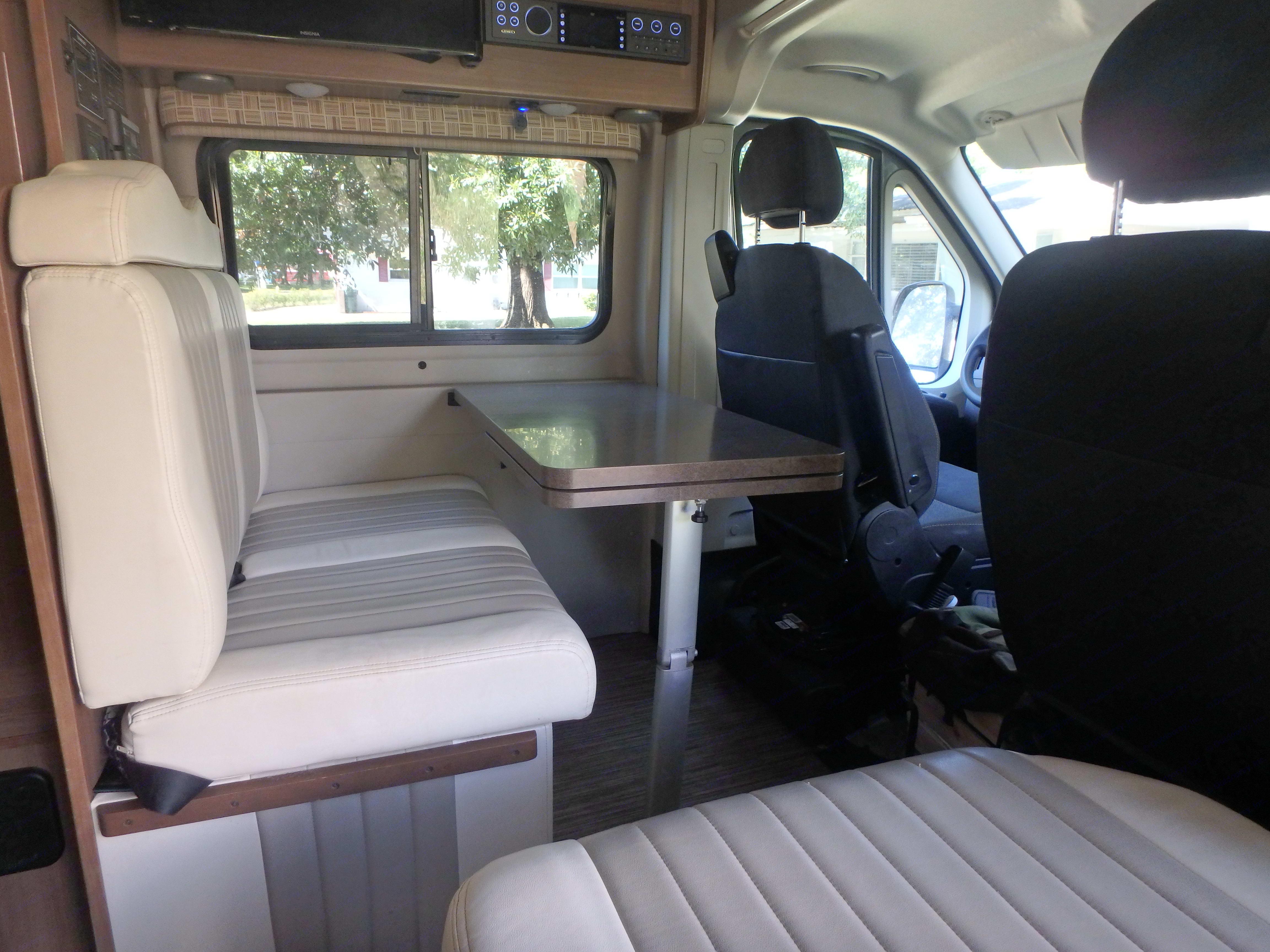 Living area table. Winnebago Travato 2017