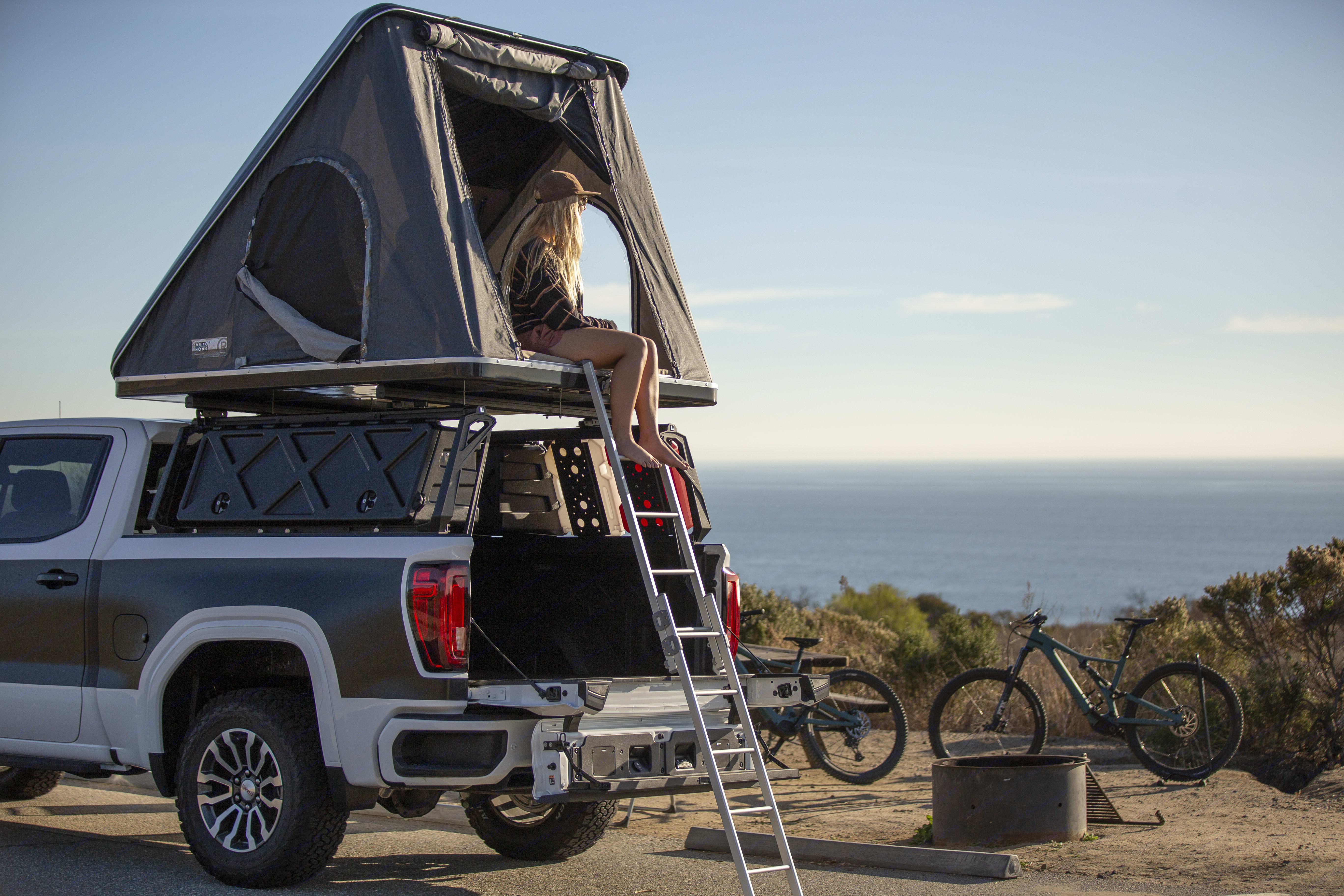 """Elevated tent allows for scenic views.  """"Kicker Sound System"""" can be seen in tailgate step!. GMC Sierra 1500 AT4 Duramax Diesel 2021"""