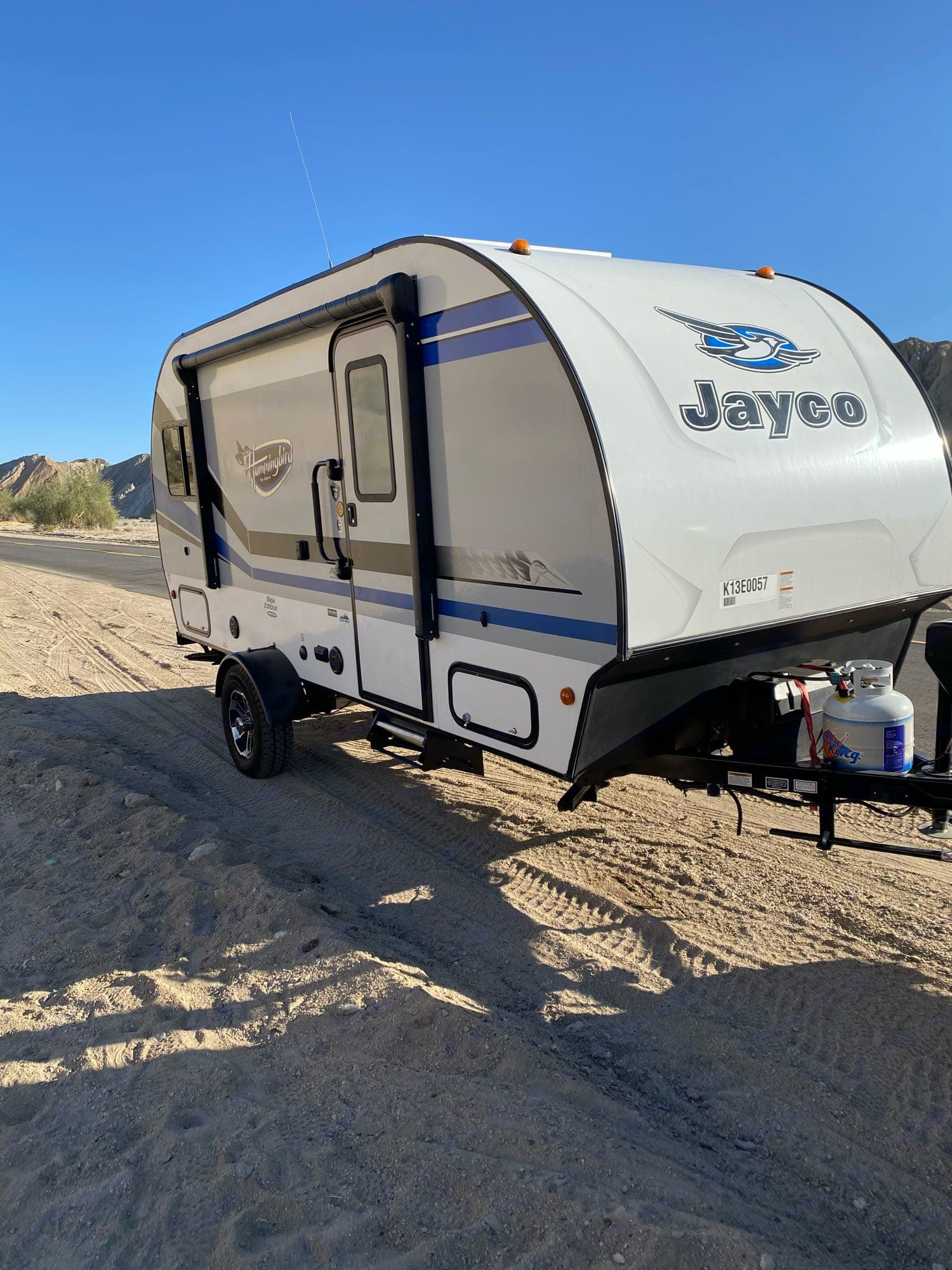 Side view with entertainment door and awning. Jayco Jay Feather Baja 2019