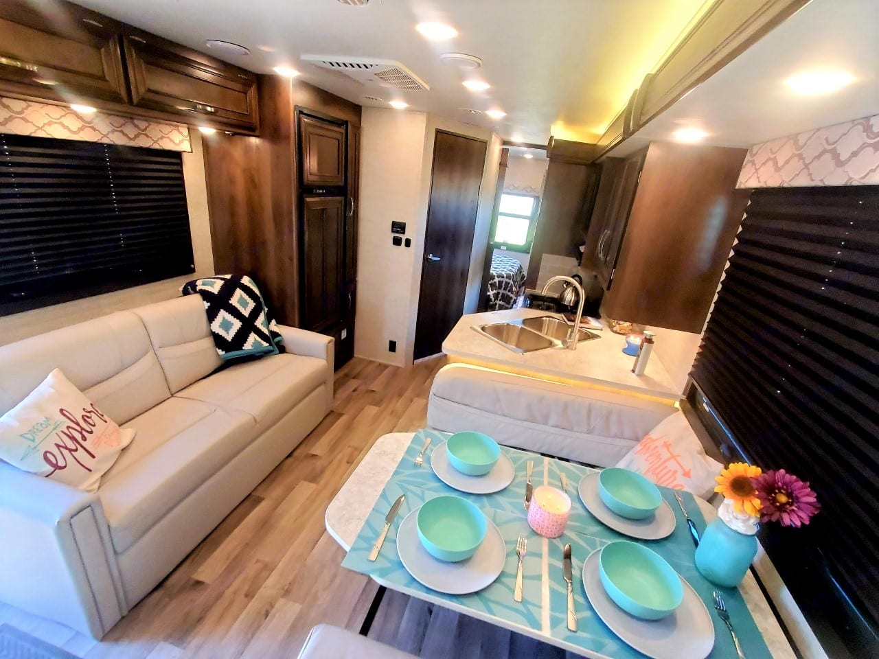 Couch that makes into a bed and dinette folds down to a bed as well.. Jayco Redhawk 2021