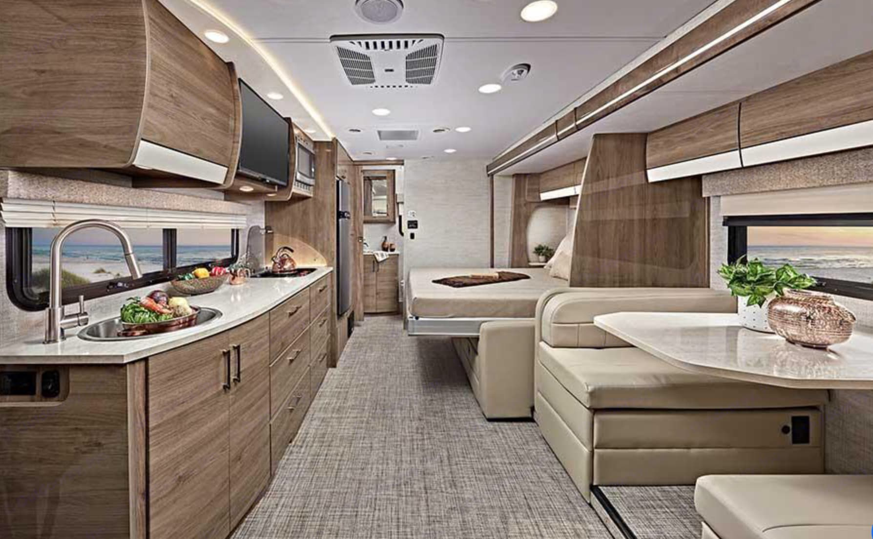 Length of interior from cab to bathroom, beautiful!  Maufacturers photo, ours coming soon!. Entegra Coach Qwest 2021