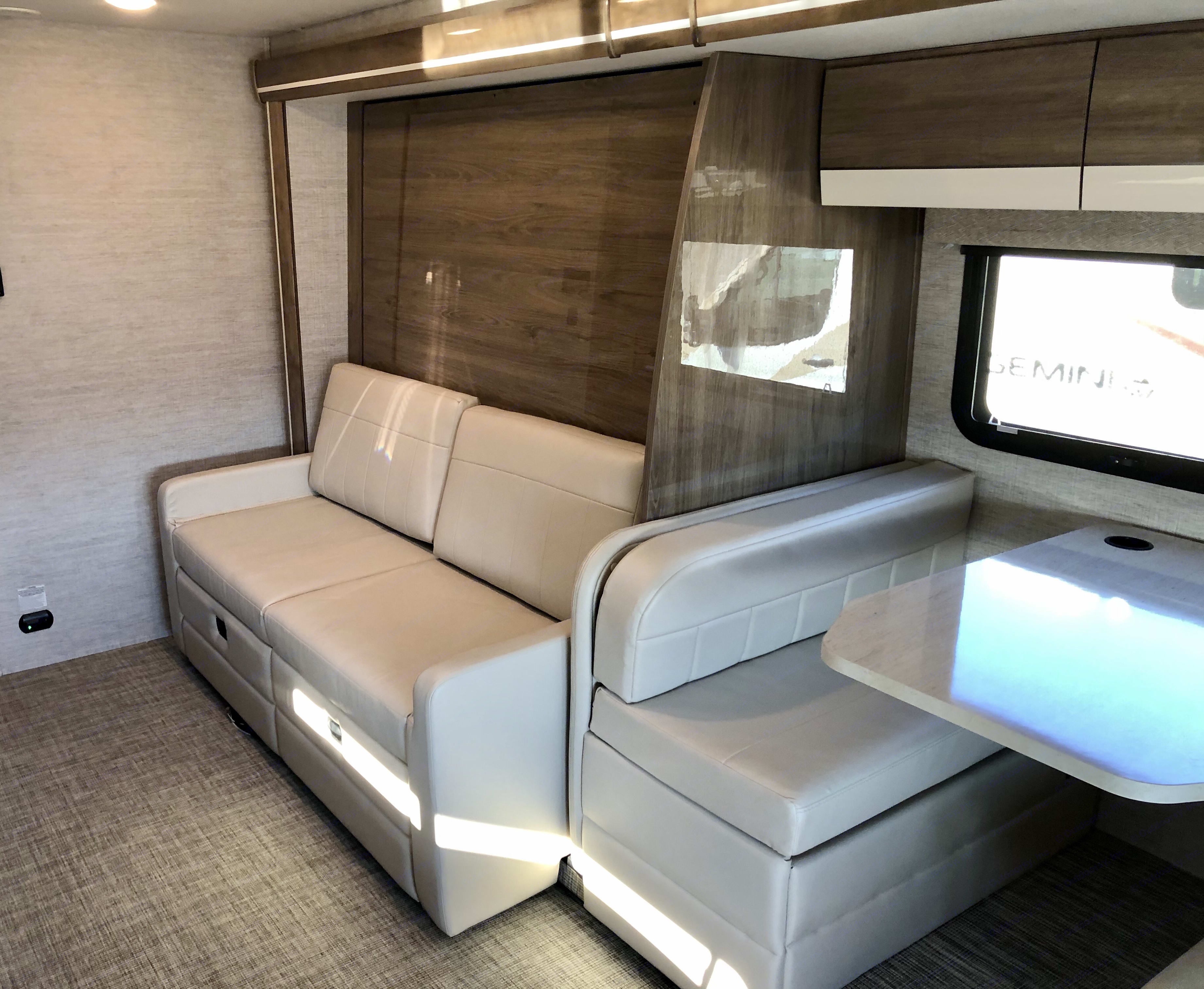Is it a couch, or is it a bed?  Either way, its LEATHER and its comfortable!. Entegra Coach Qwest 2021