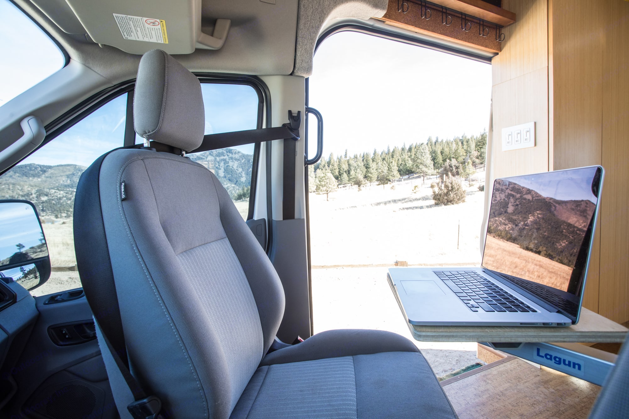 LAP TOP FRIENDLY VAN- while taking in the view out the side door. Ford Transit 2018