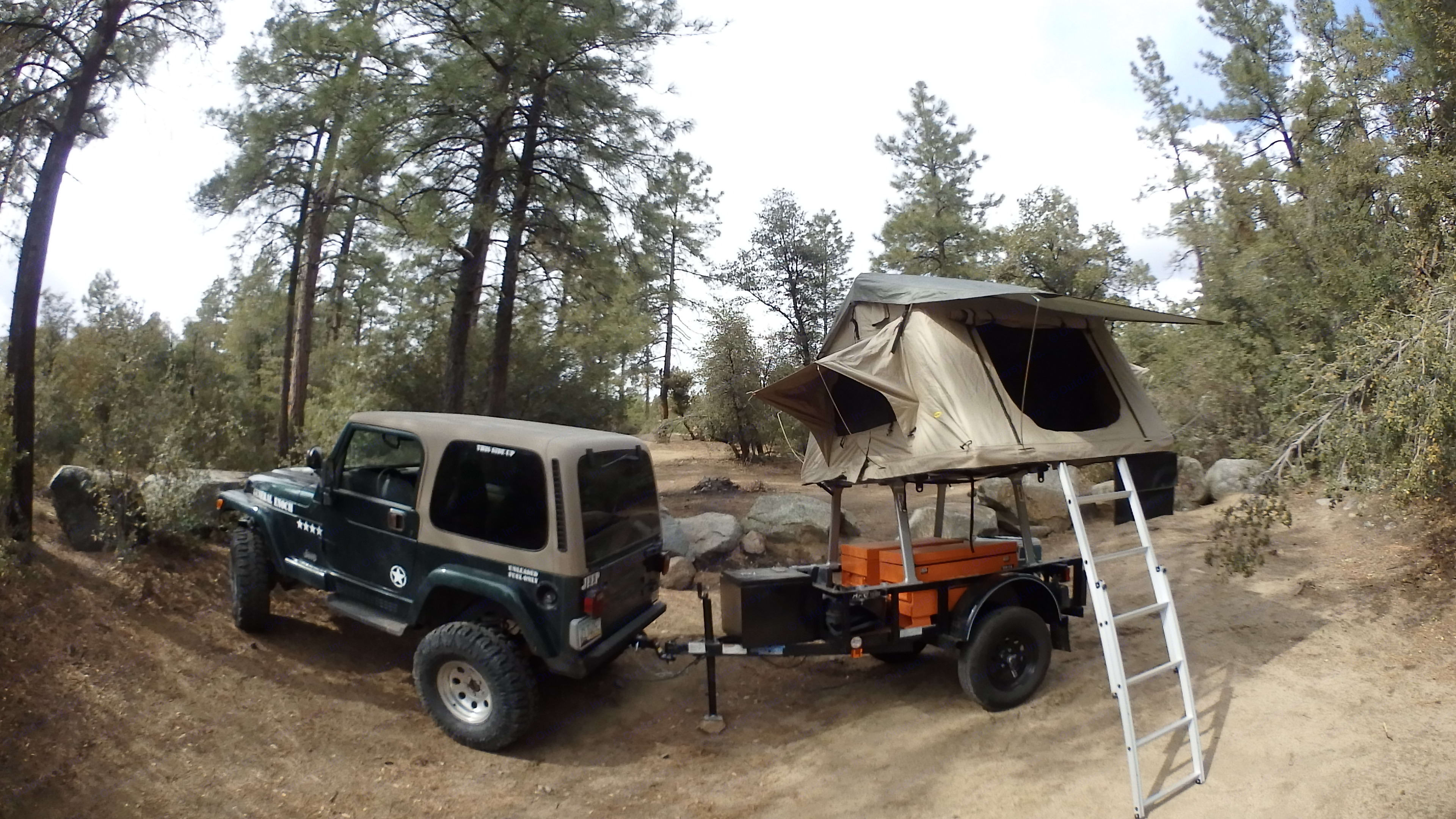 Tows the small trailer very well.. Jeep Wrangler 2000