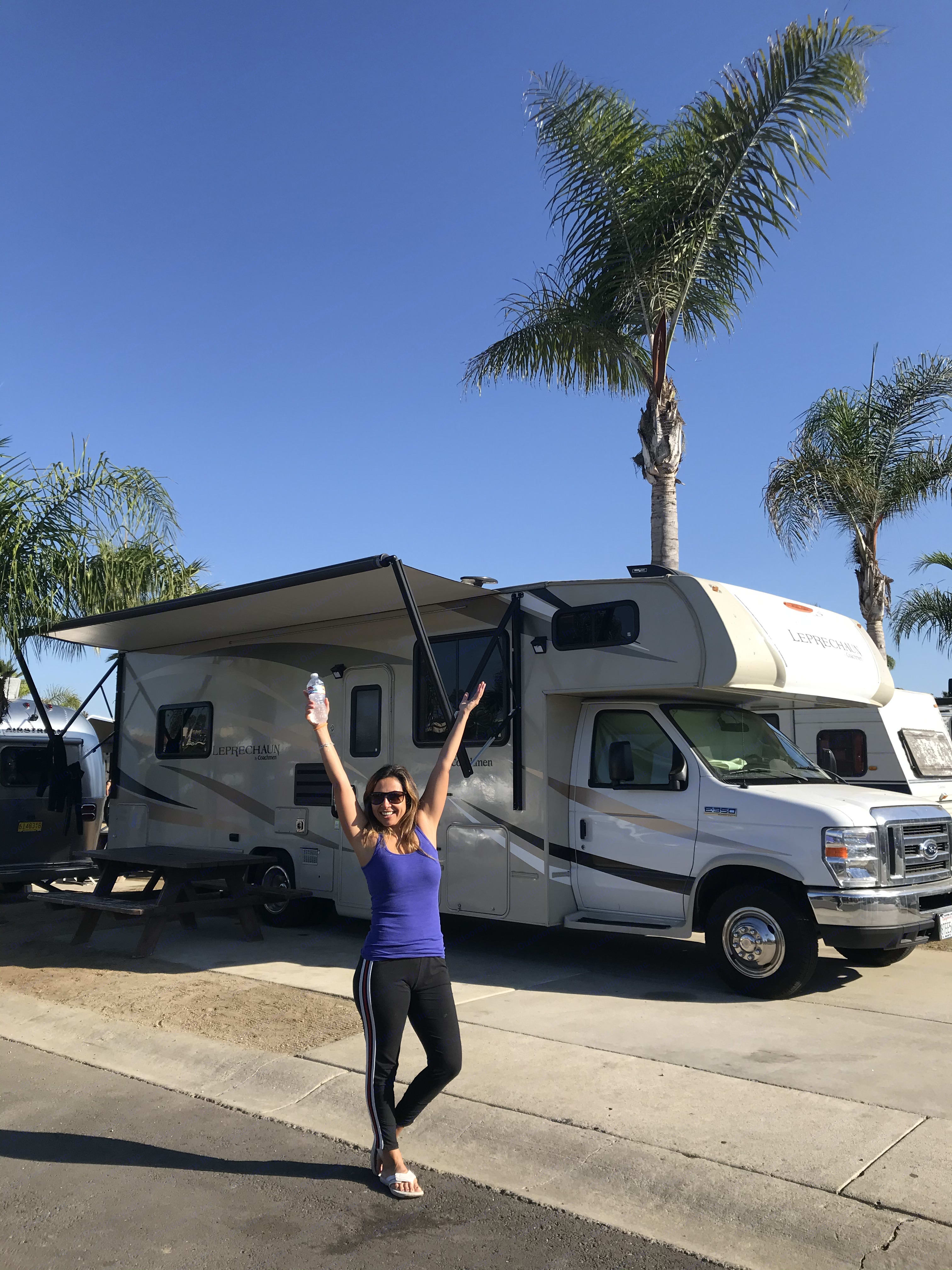 My kids inside doing school, Me?? happy after my work-out on the beach!. Ford Coachman 2019