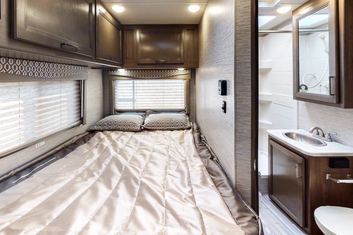 Master Bedroom. Thor Motor Coach Freedom Elite 2021