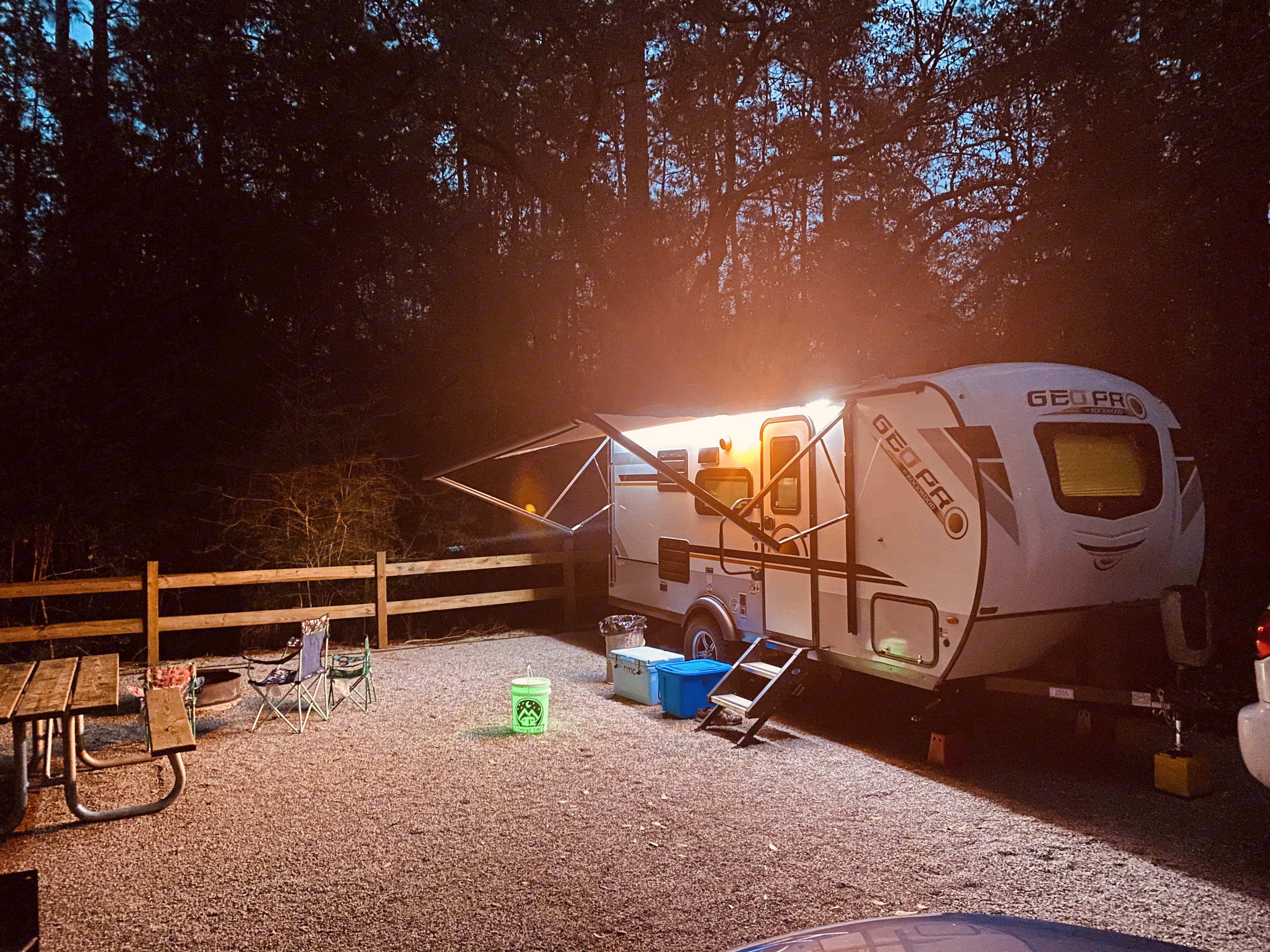 There are nice outdoor lights to keep everything lit up.. Forest River Rockwood 2020