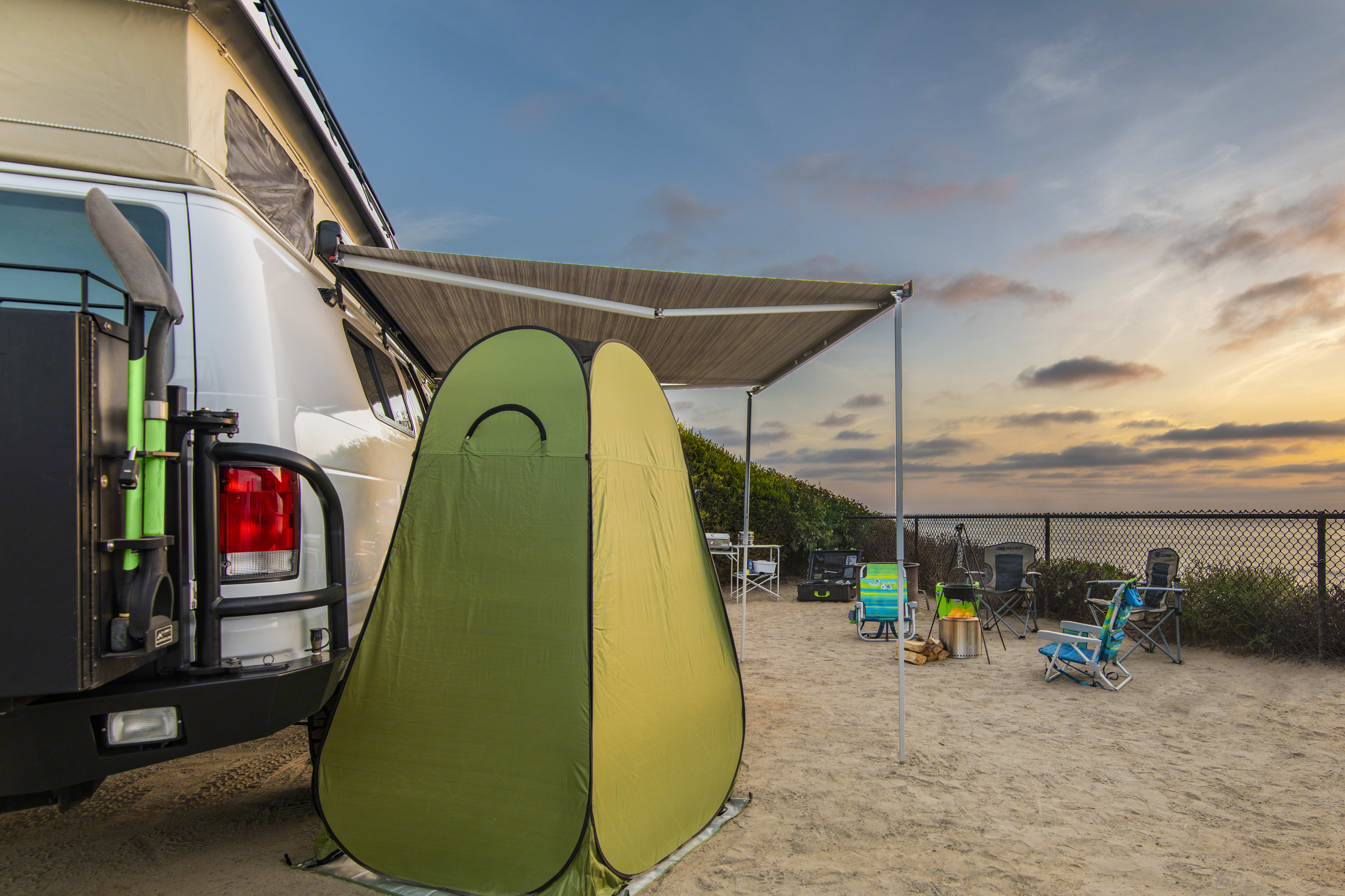 High quality Fiamma awning is easy to open and close up. Keeps you cool from the sun and dry from the rain. A lifesaver!. Ford Econoline/Sportsmobile 2002