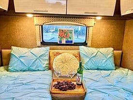 The bedroom may be converted for usage as a King or two Twin beds setup.  It features a 32 inch TV with ROKU, DVD player and stereo.. Thor Motor Coach Axis 2018