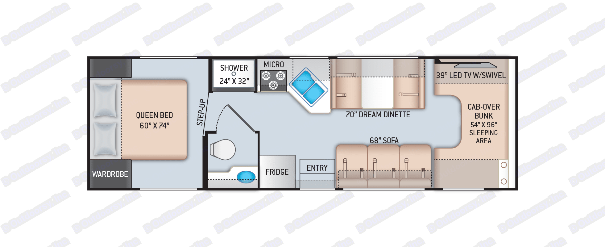 Spacious floor plan for the family. Thor Motor Coach Four Winds 2021