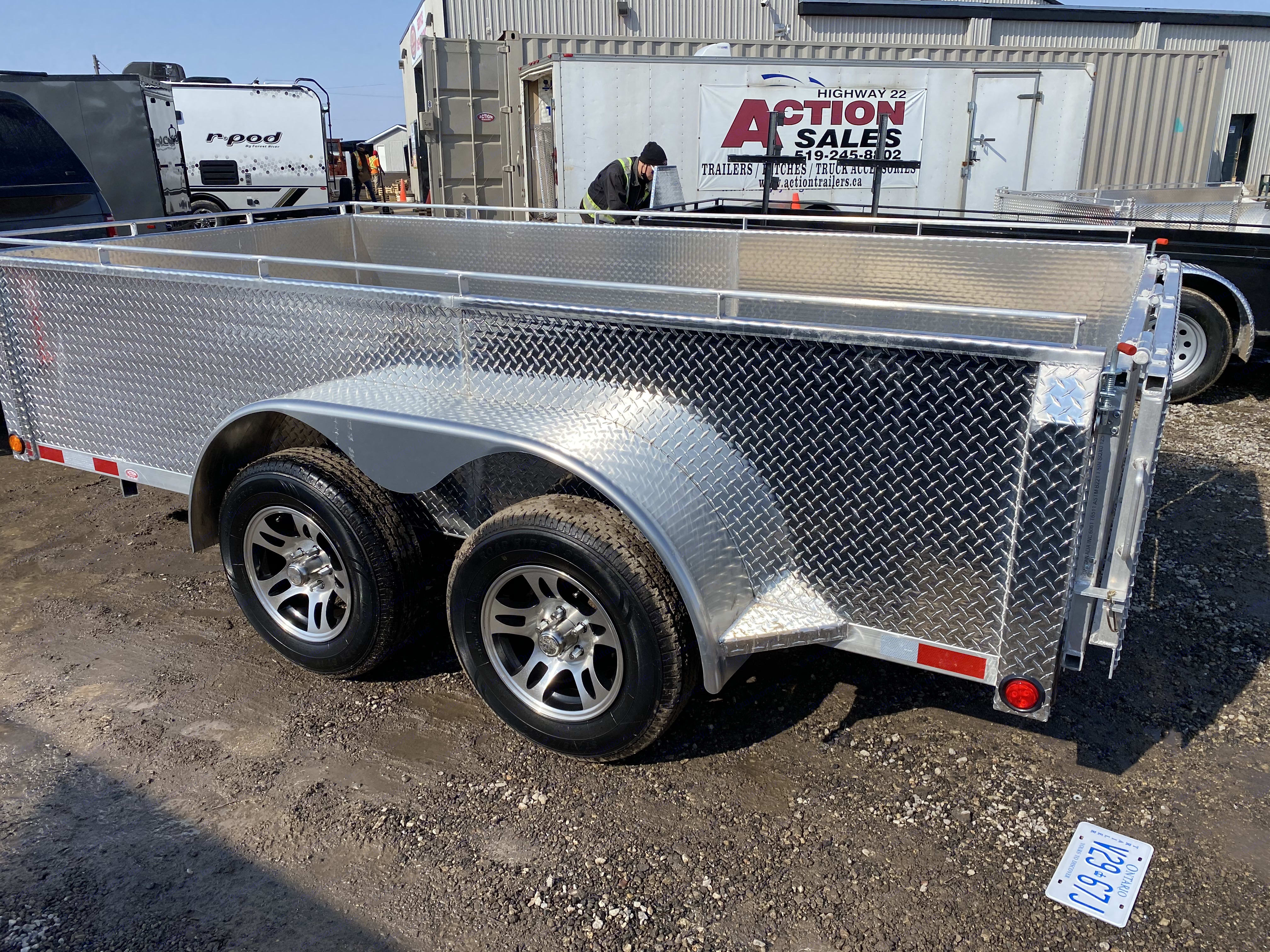 """28"""" high solid sides. Aluminum Utility 6' x 12' 2021"""
