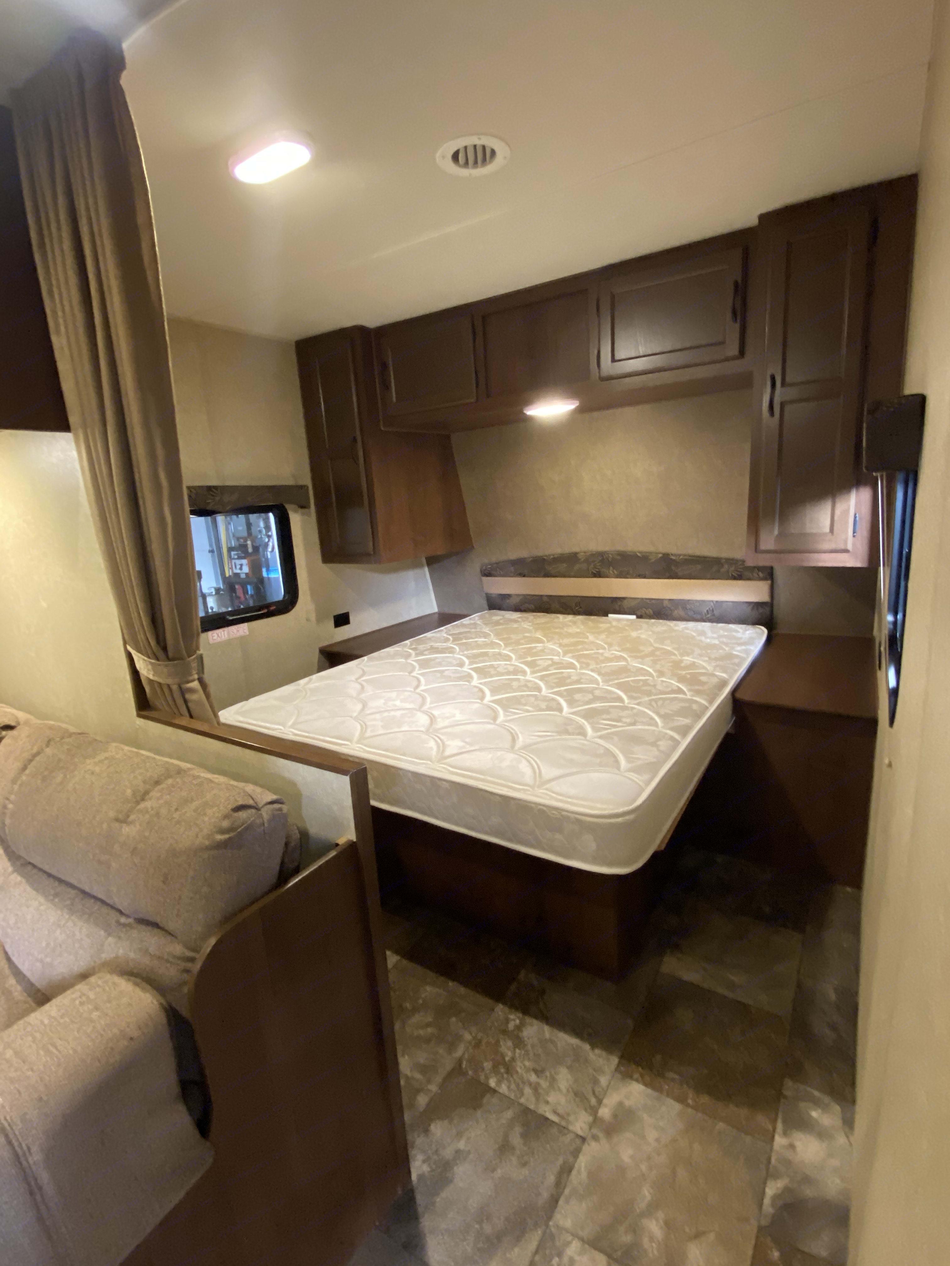 Master Bedroom with queen bed . Jayco Camper Trailer- Swift 2014