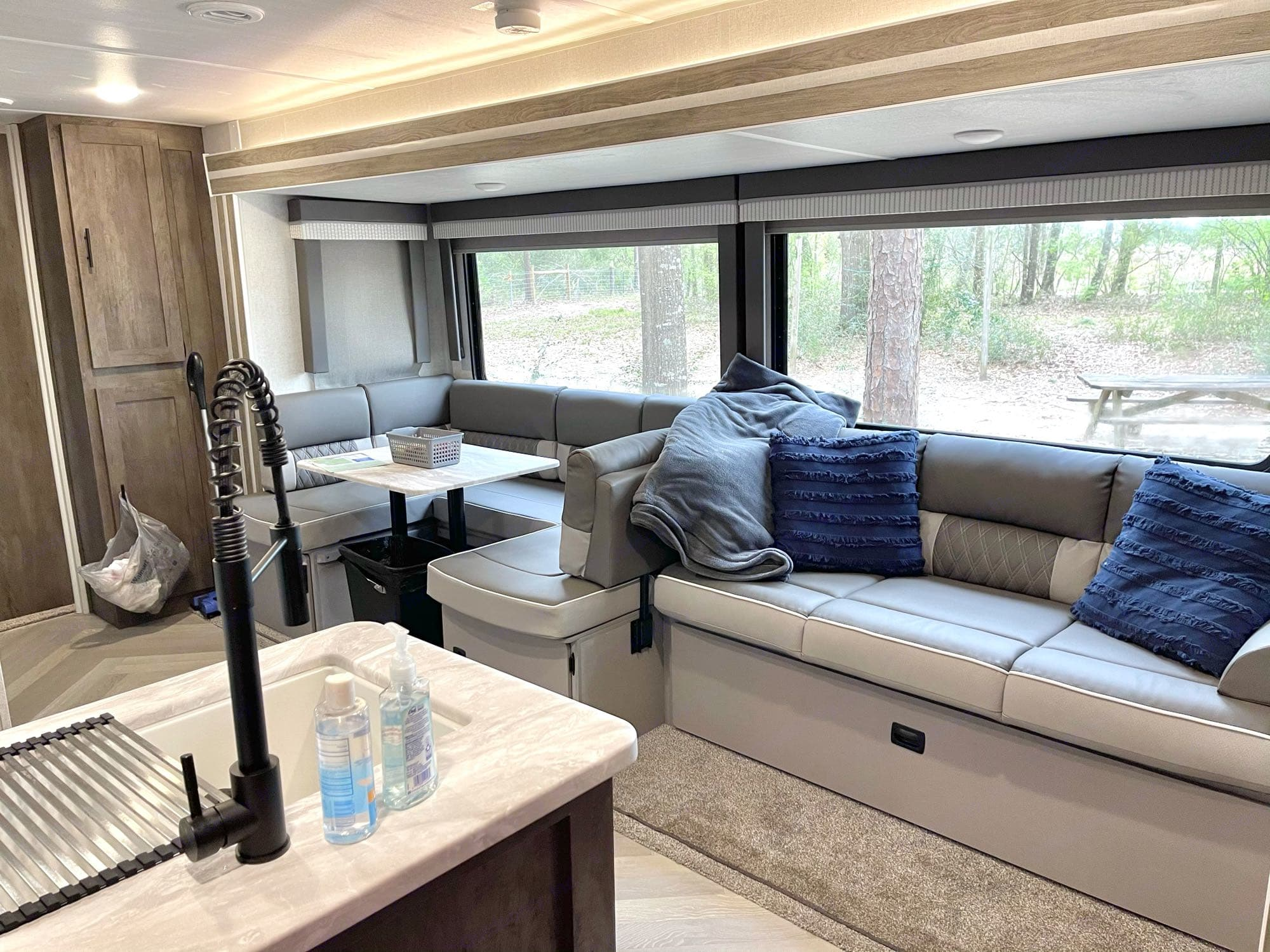 Couch and dinette fold out to beds for extra sleeping space. Forest River Salem 2021