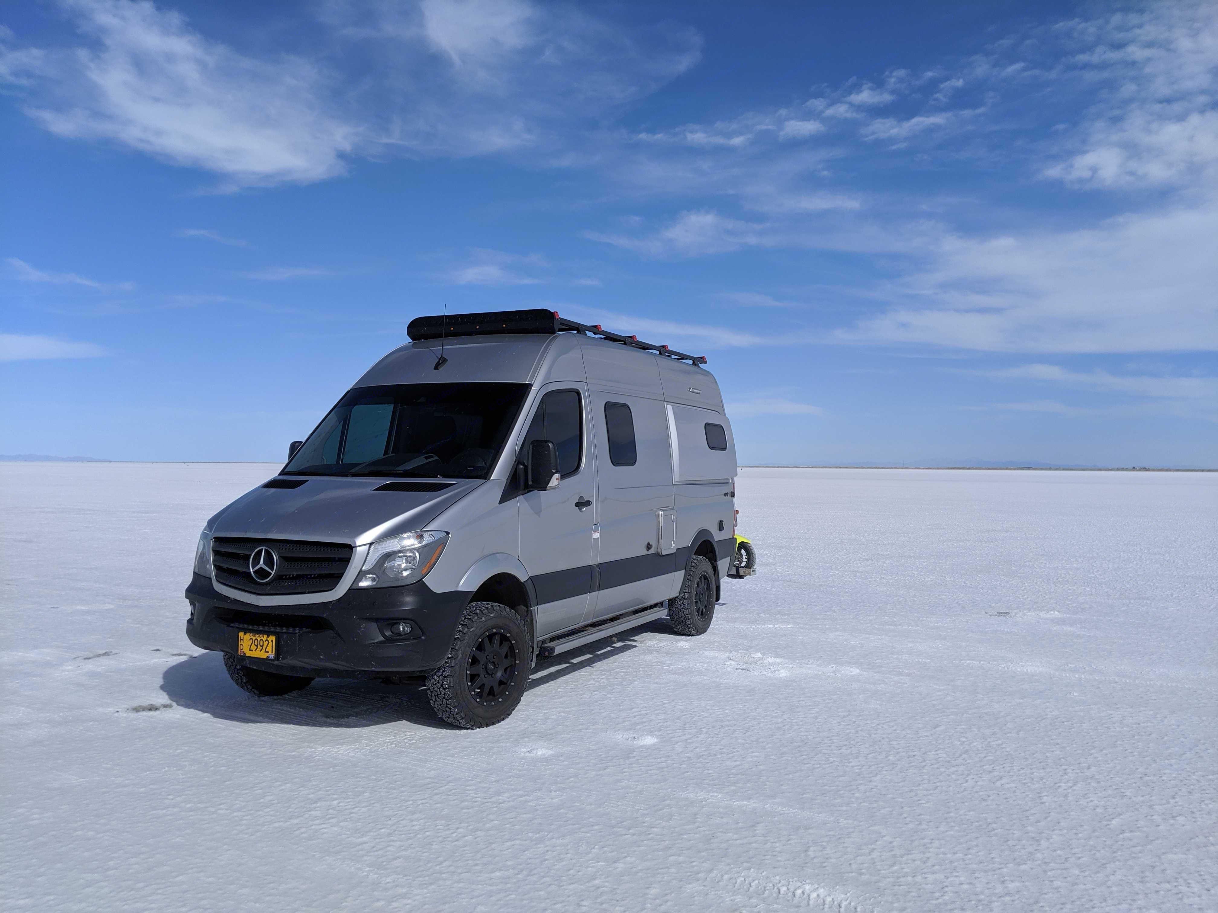 Salt Flats, Utah. Mercedes-Benz Sprinter Winnebago Revel 2019