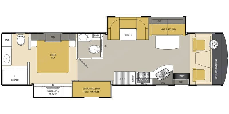 You can get an idea of the distribution of the areas. Above the driver is a full size bunk bed, which is lowered when the RV is parked.. Coachmen Mirada 2015