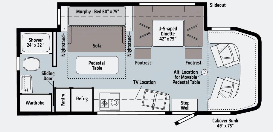 Dinette, Queen-size Murphy bed best for best space utilization. Winnebago Avion View 24D 2021