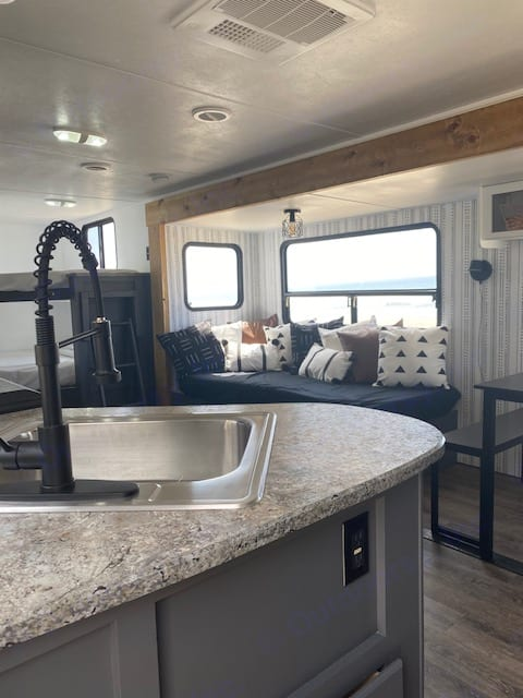 As you step into the trailer you have the kitchen to the left and master bedroom to the right. Keystone Springdale 2013