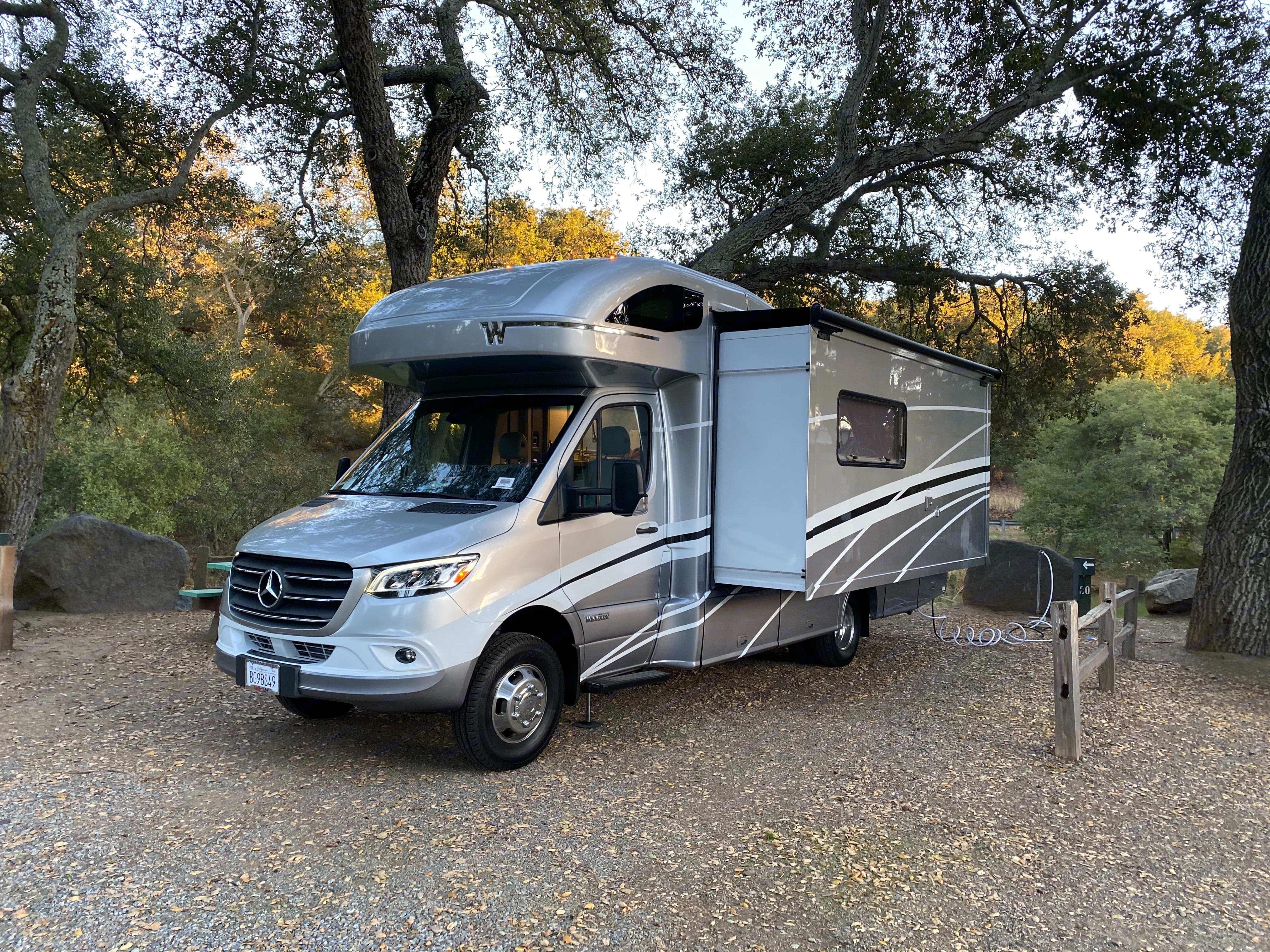 Narrow profile with slideout and high-mounted rear camera make this easy to park safely.. Winnebago Avion View 24D 2021